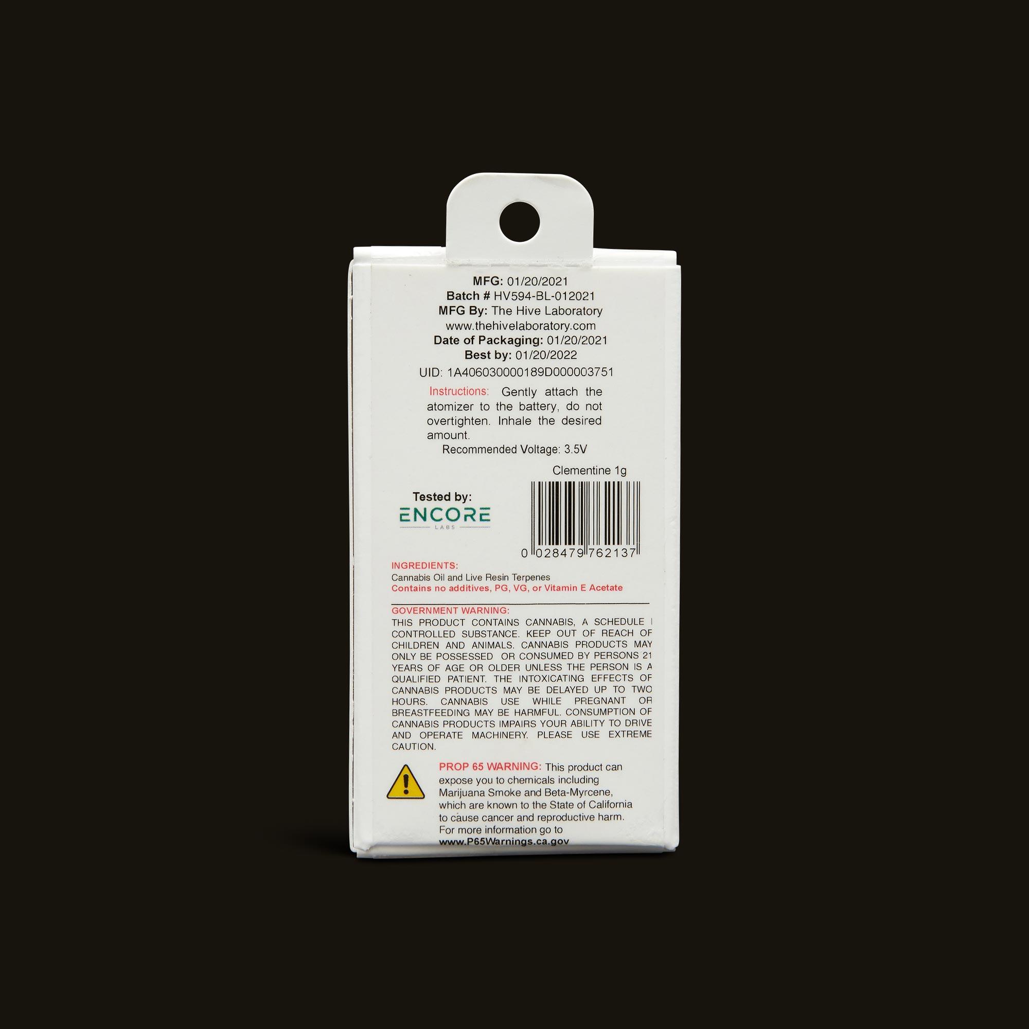 Bloom Brands Vape Pen - Clementine Live Resin Cartridge - 1g