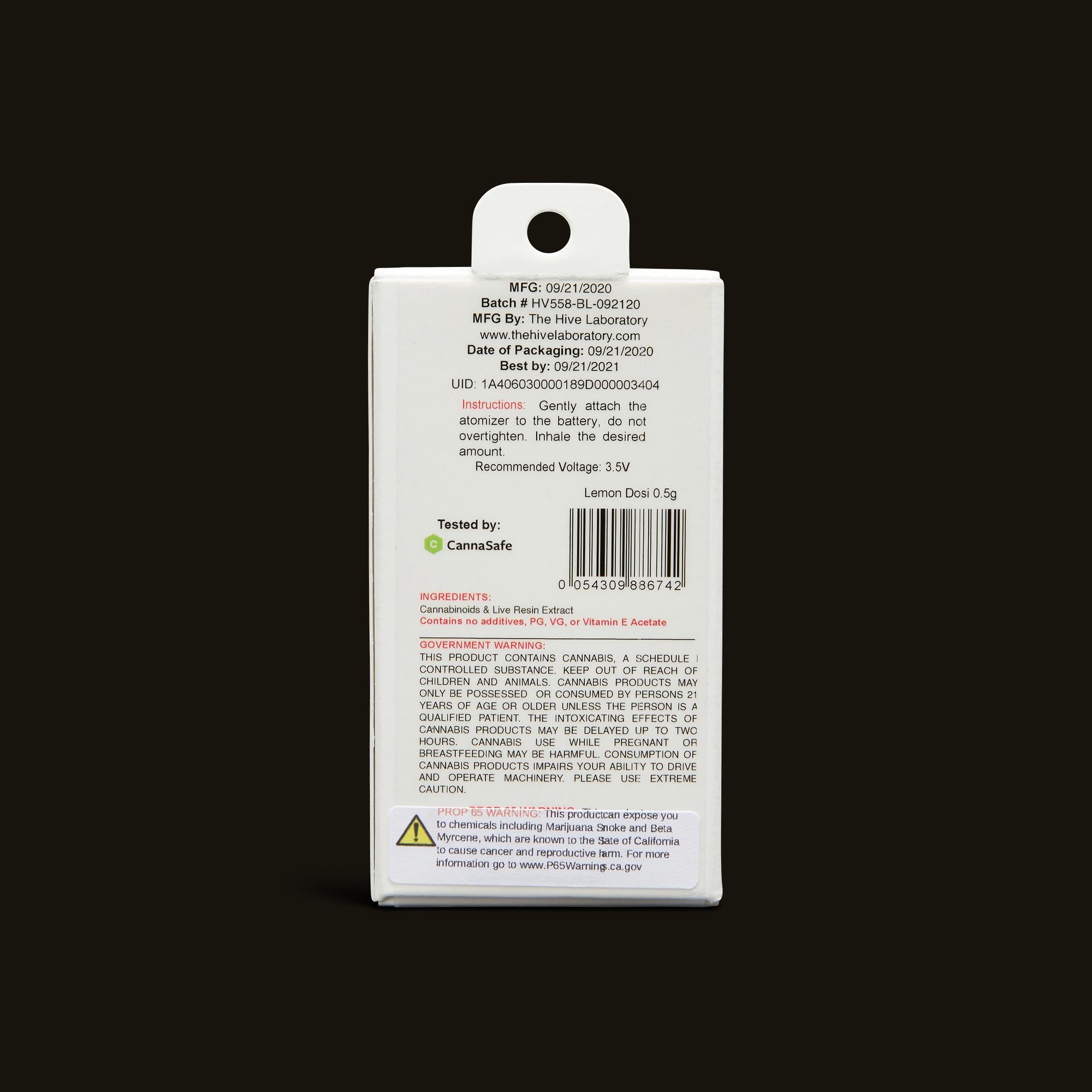 Bloom Brands Vape Pen - Lemon Dosi Live Resin Cartridge - .5g