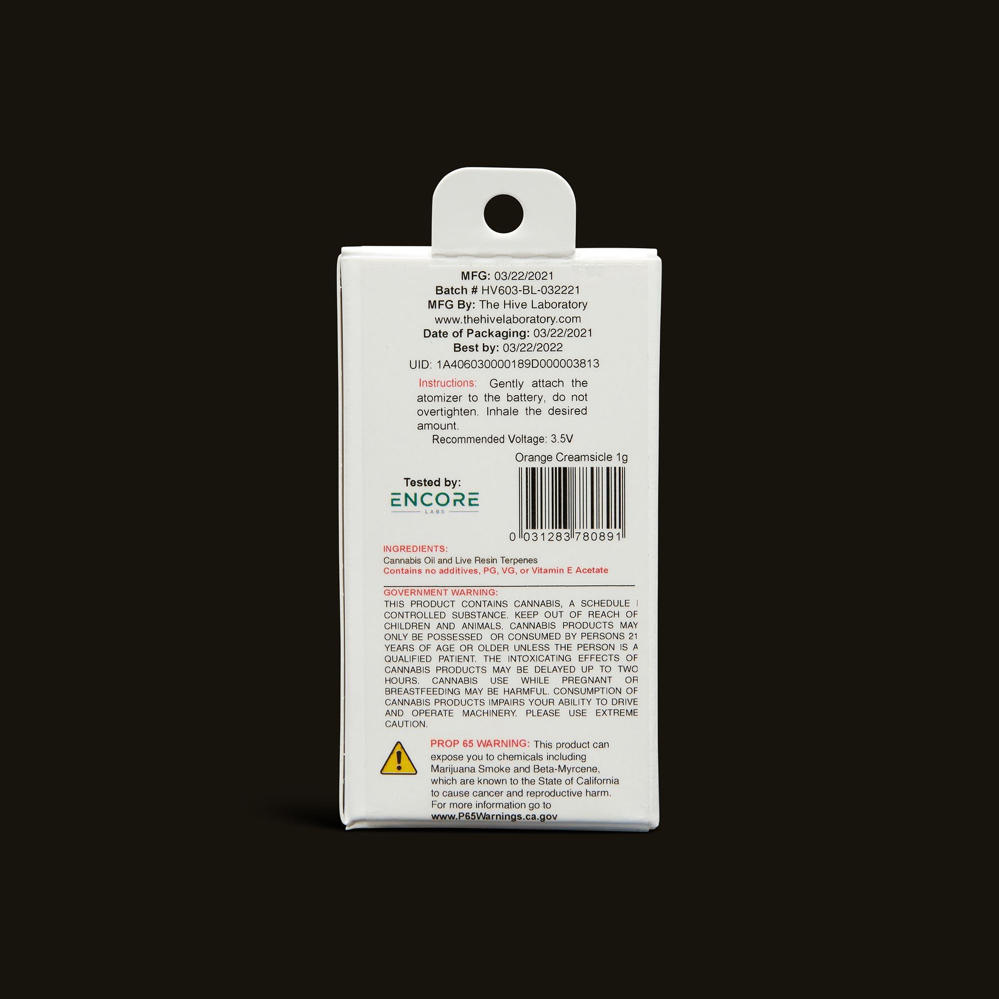 Bloom Brands Vape Pen - Orange Creamsicle Live Resin Cartridge - 1g
