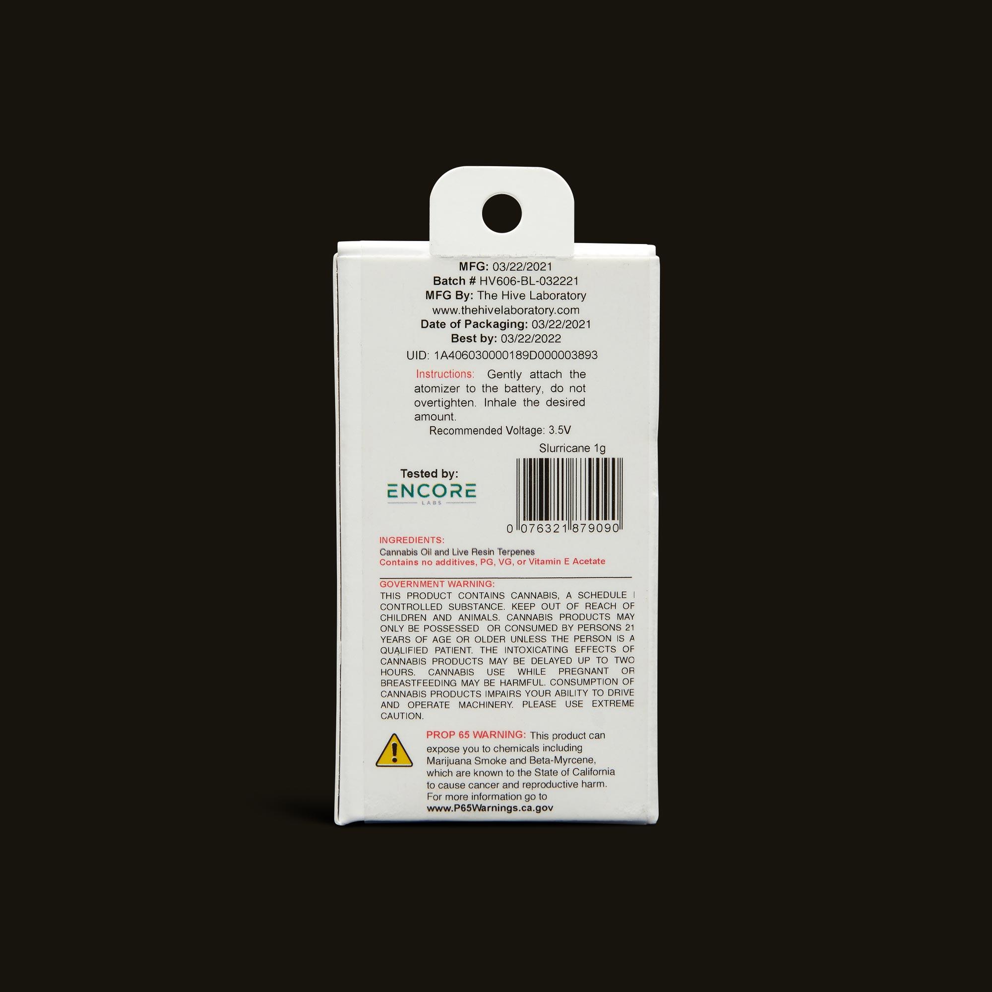 Bloom Brands Vape Pen - Slurricane Live Resin Cartridge - 1g