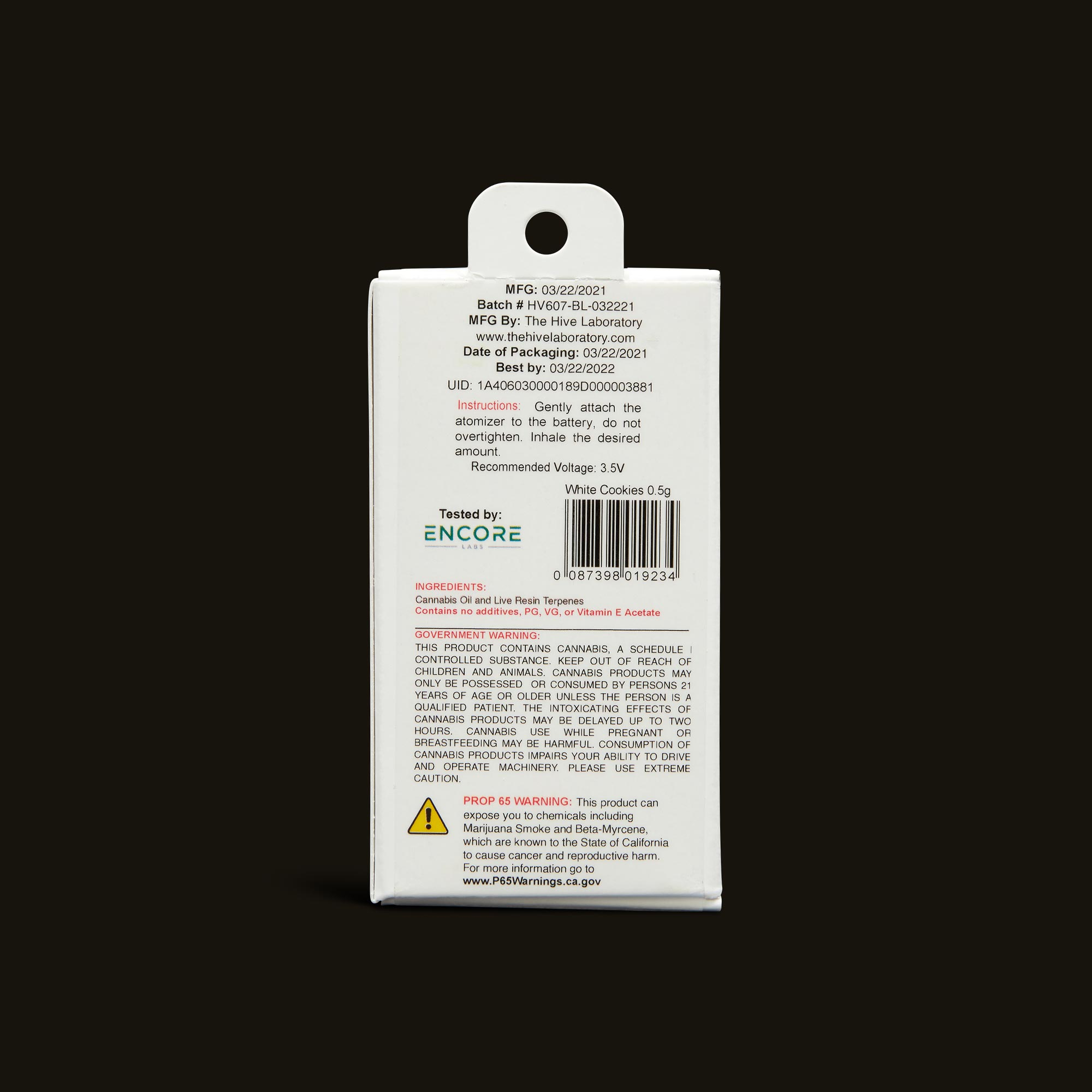 Bloom Brands Vape Pen - White Cookies Live Resin Cartridge - 1g
