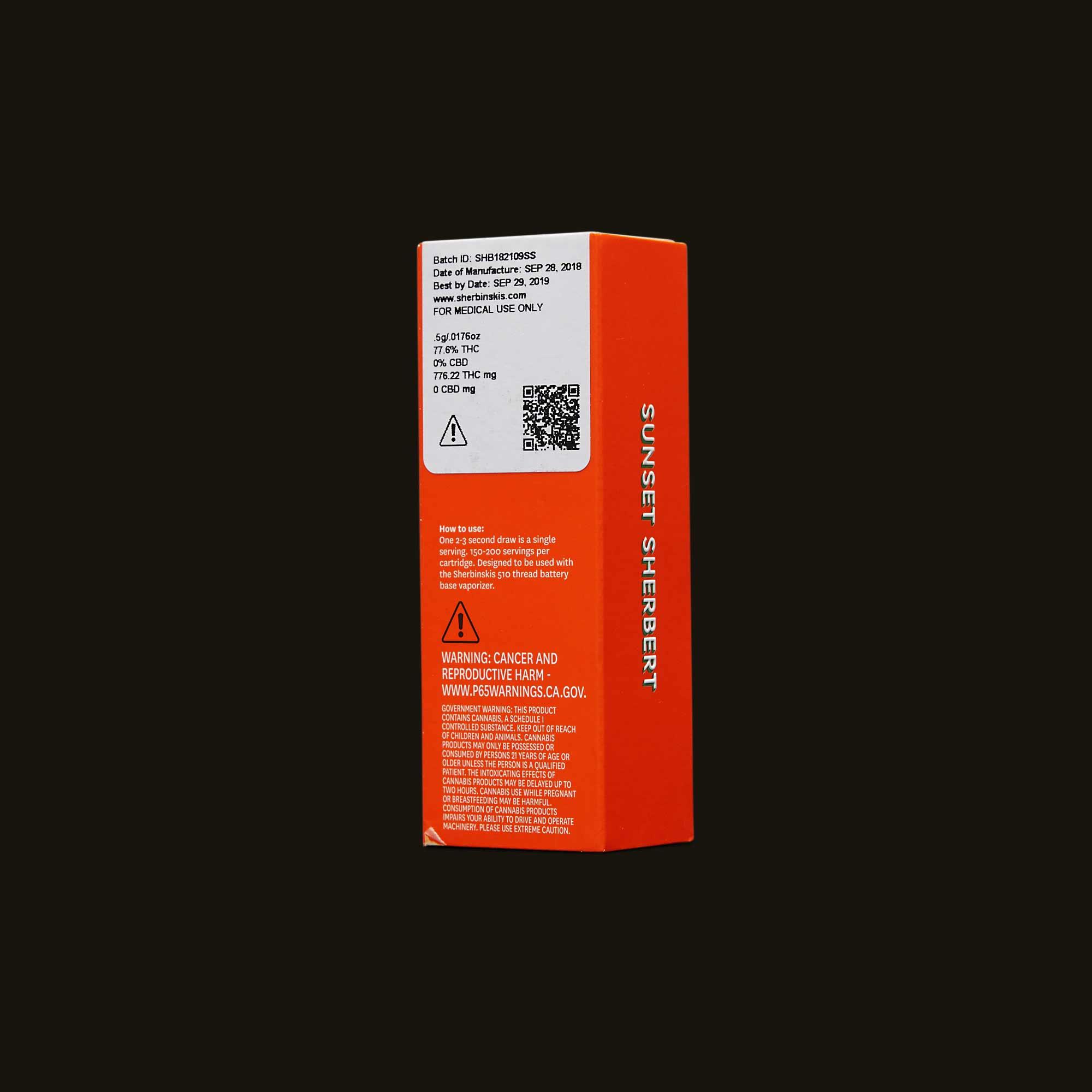 Sherbinskis Vape Pen - Sunset Sherbert Cartridge