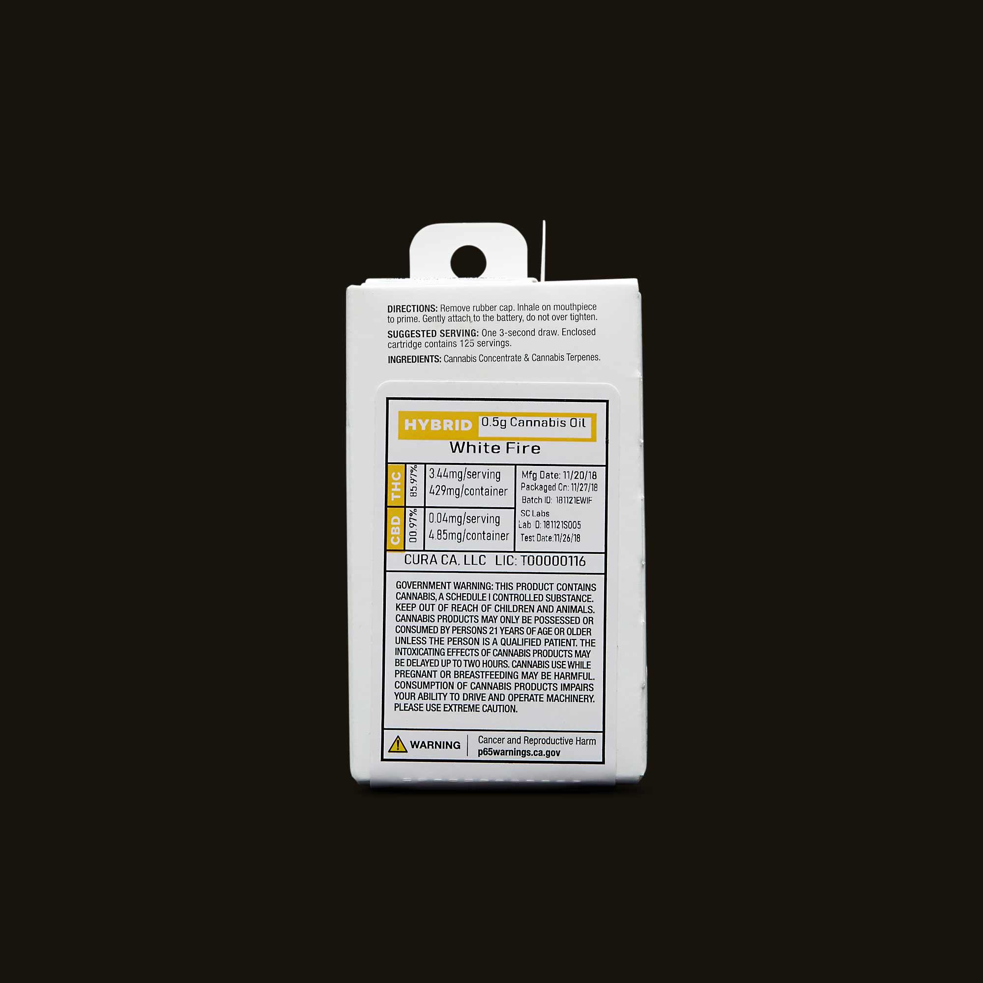 Select Oil White Fire Elite Cartridge