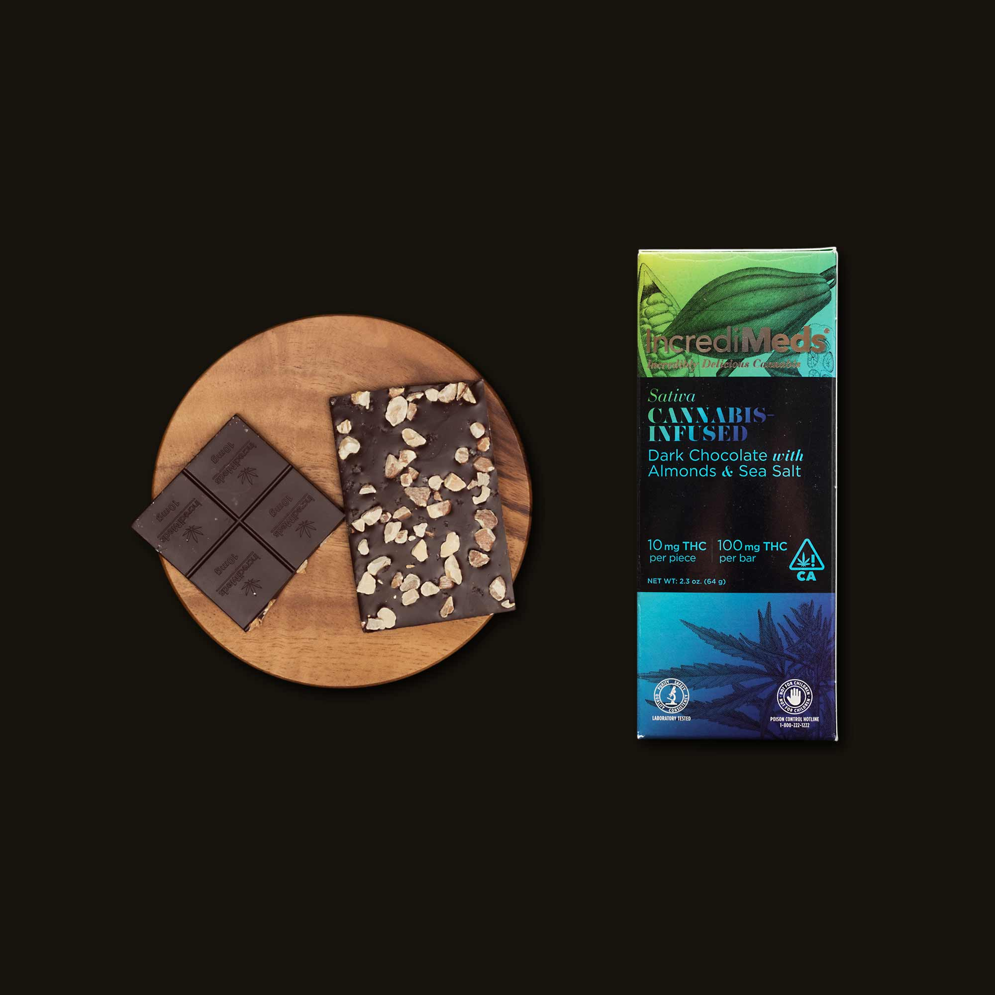 IncrediMeds Dark Chocolate with Almonds & Sea Salt