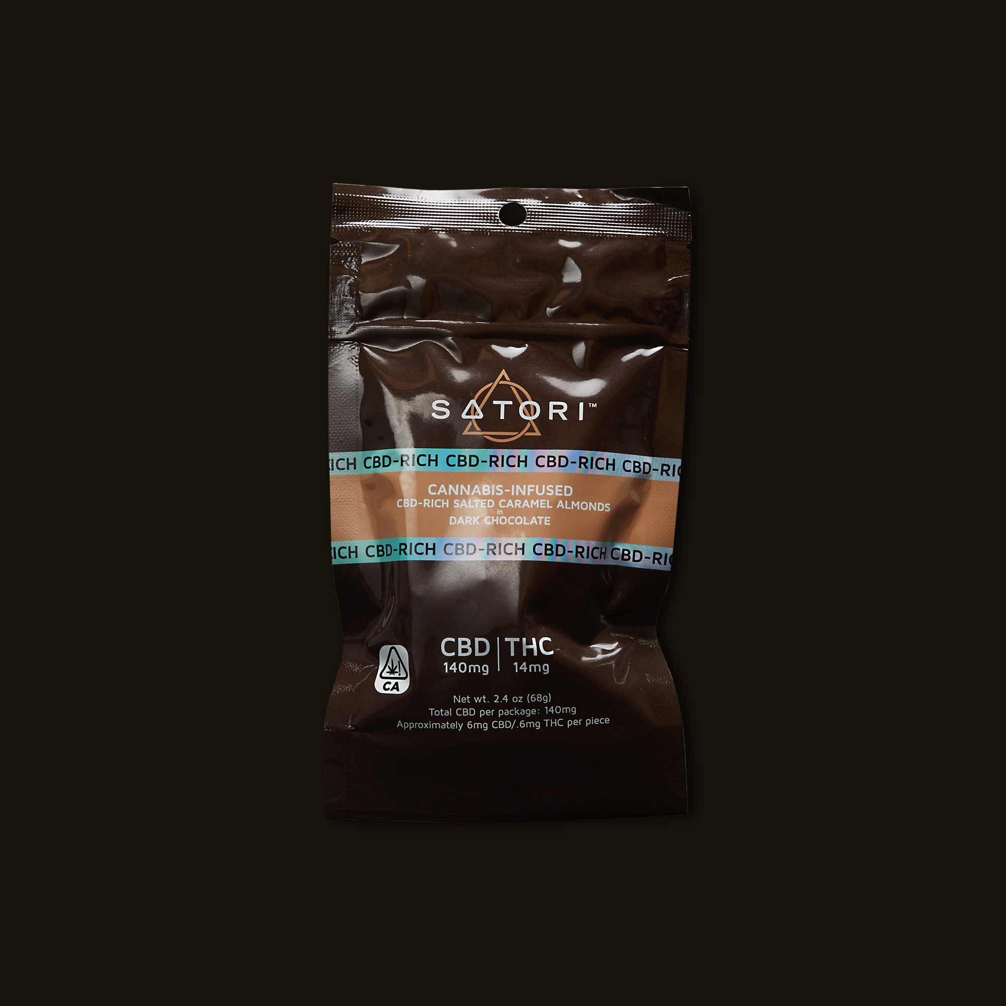 Satori Chocolates CBD-Rich Salted Caramel Almonds in Dark Chocolate