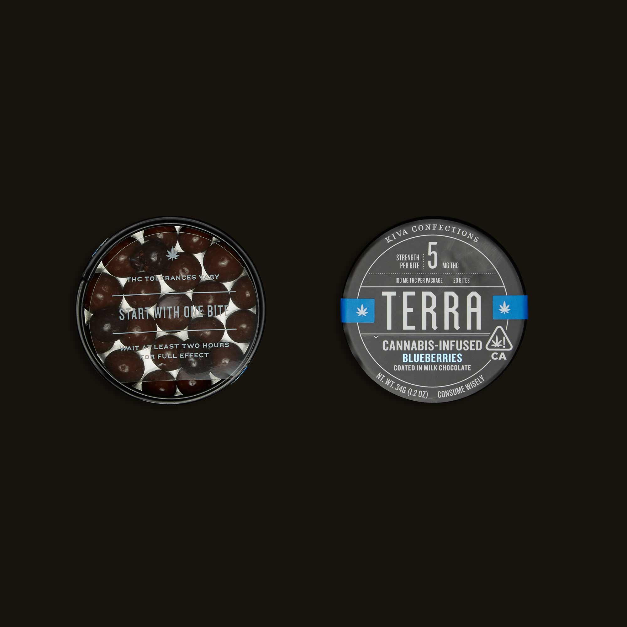 Kiva blueberry THC infused chocolate bites