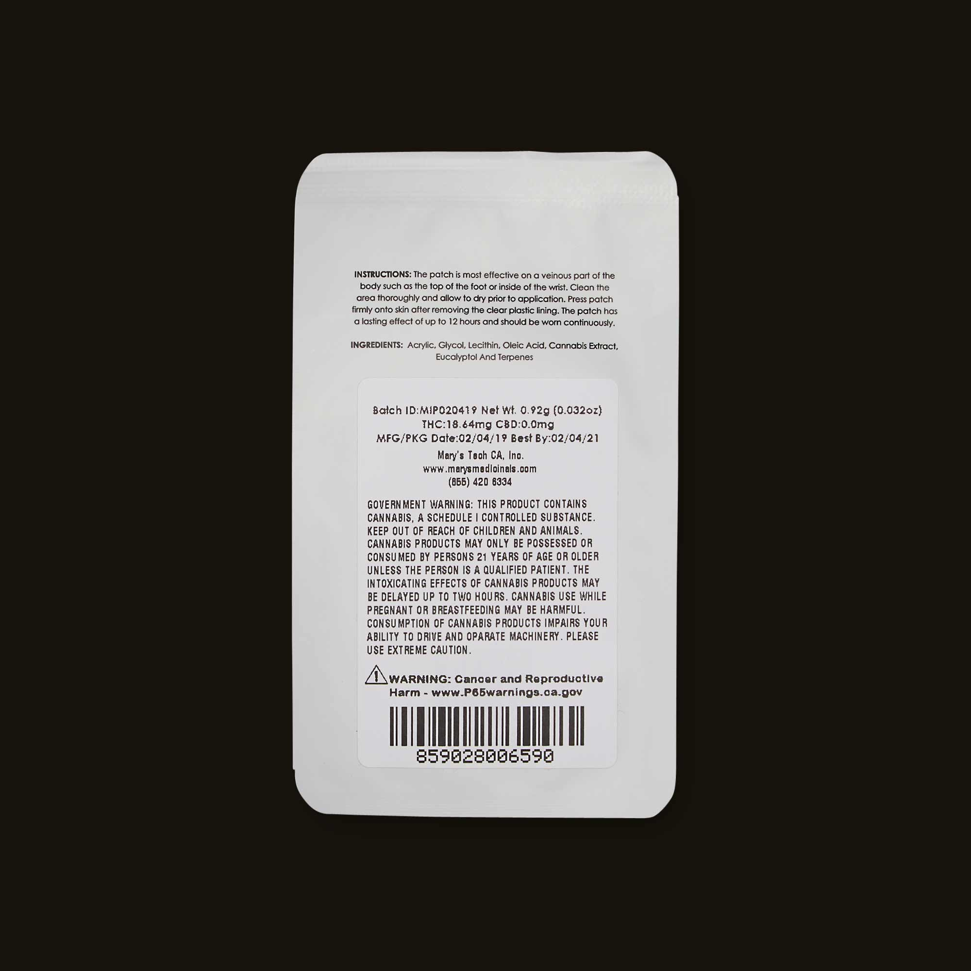 Mary's Medicinals transdermal patch with ingredients