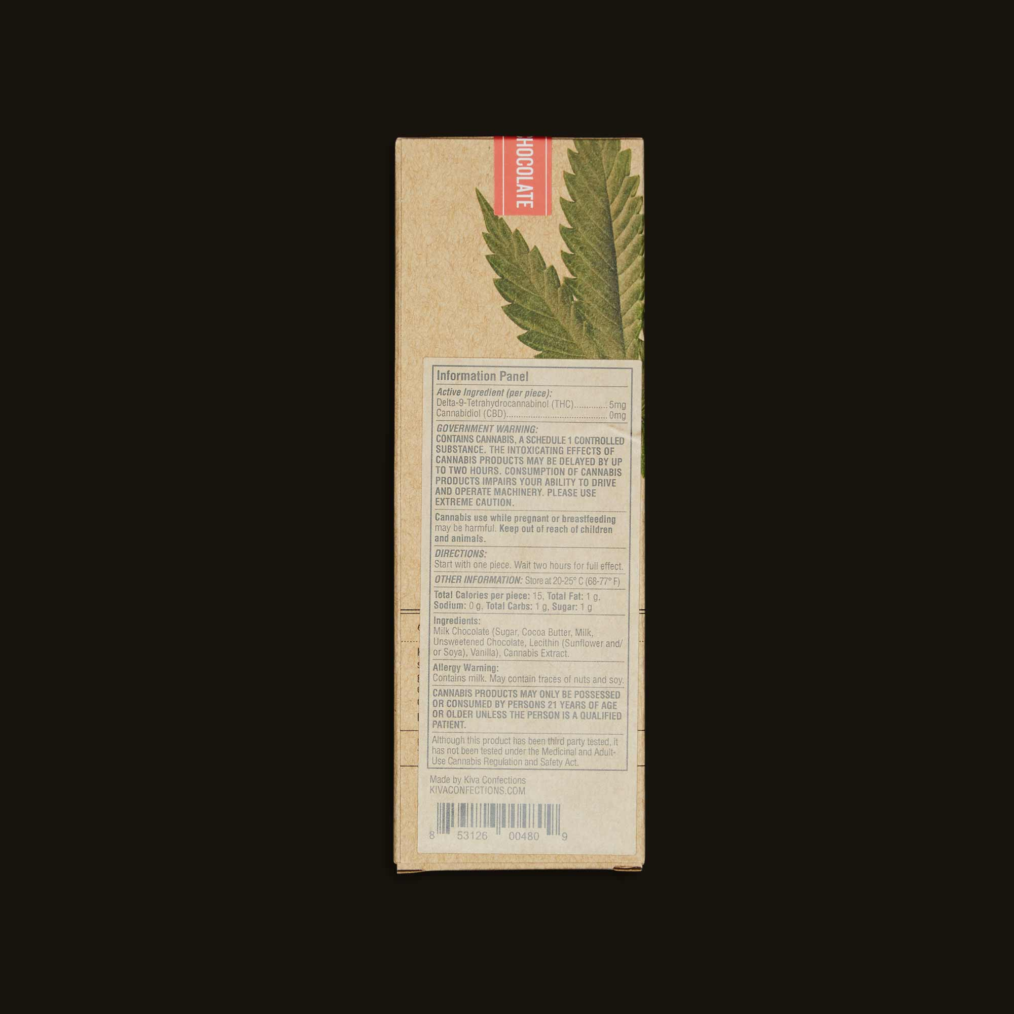 Kiva Milk Chocolate Bar Label and Ingredients