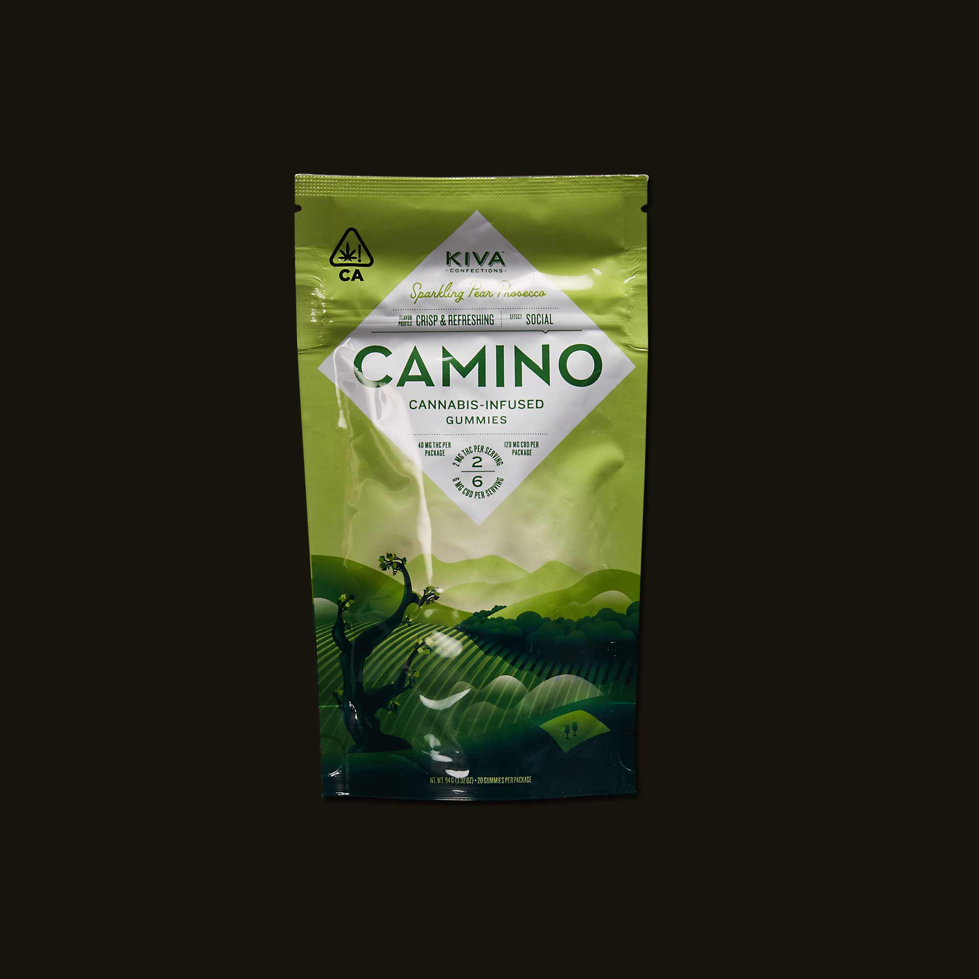 Package of Kiva Camino Pear Gummies