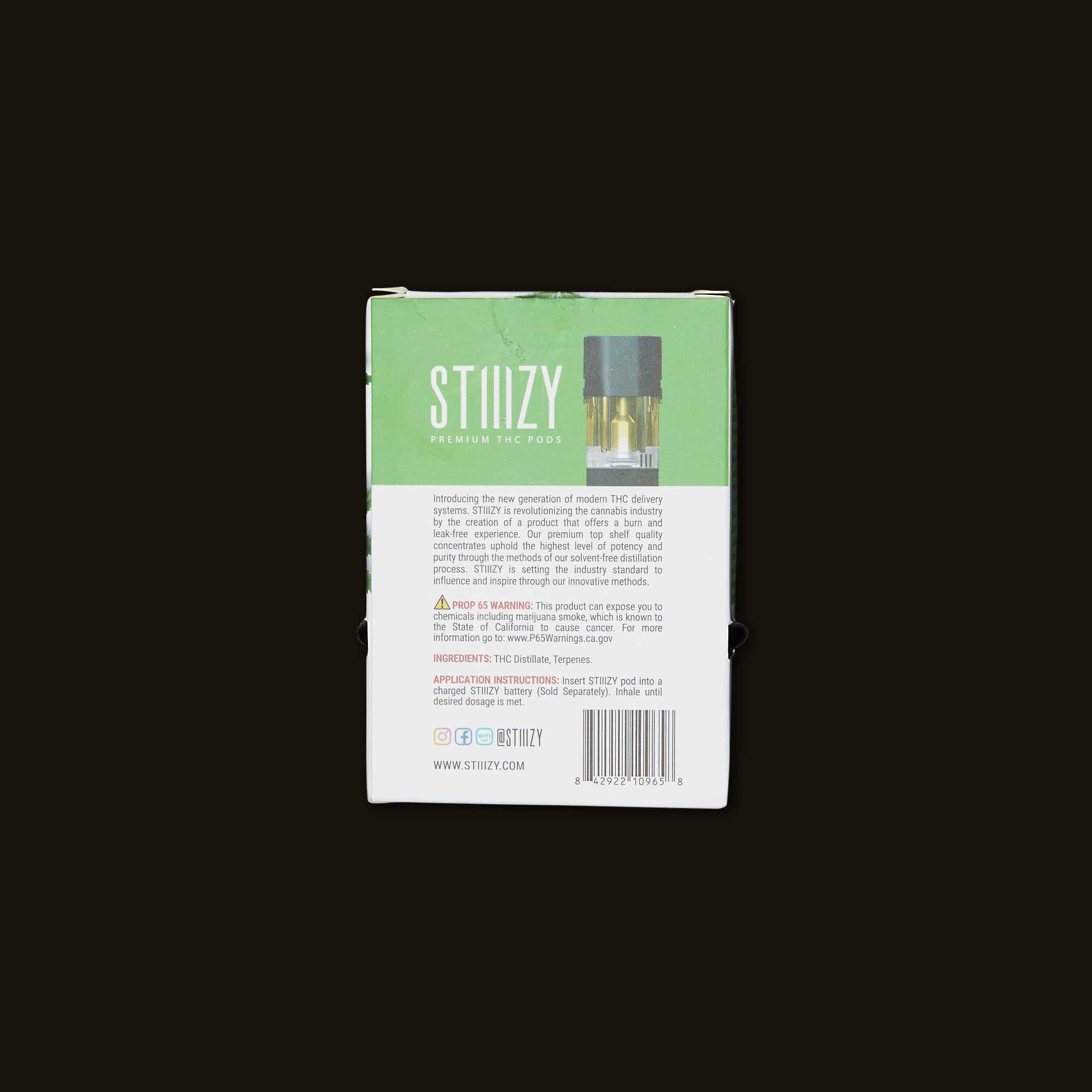 Stiizy Strawnana vape pods back of box packaging with ingredients