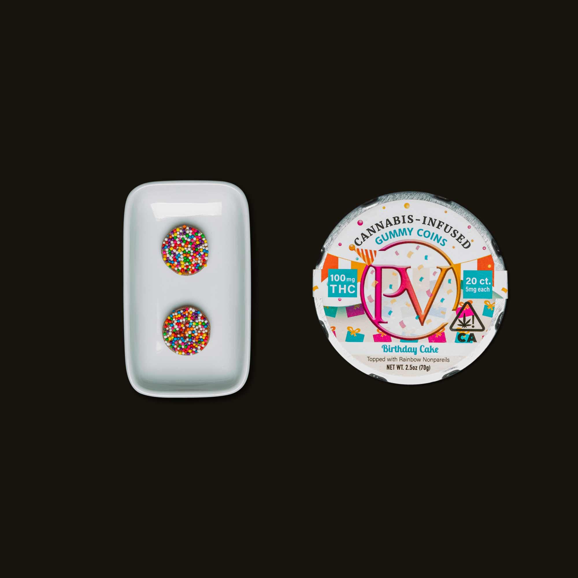 Platinum Birthday Cake Gummy Coins