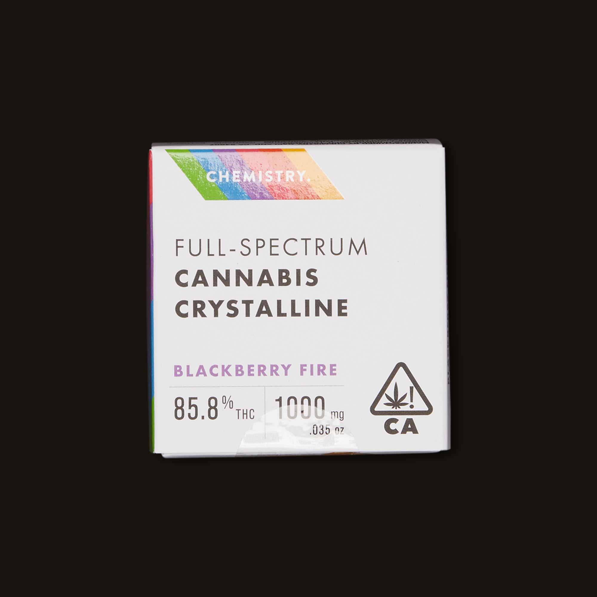 Package of Chemistry Blackberry Fire Cannabis Crystalline