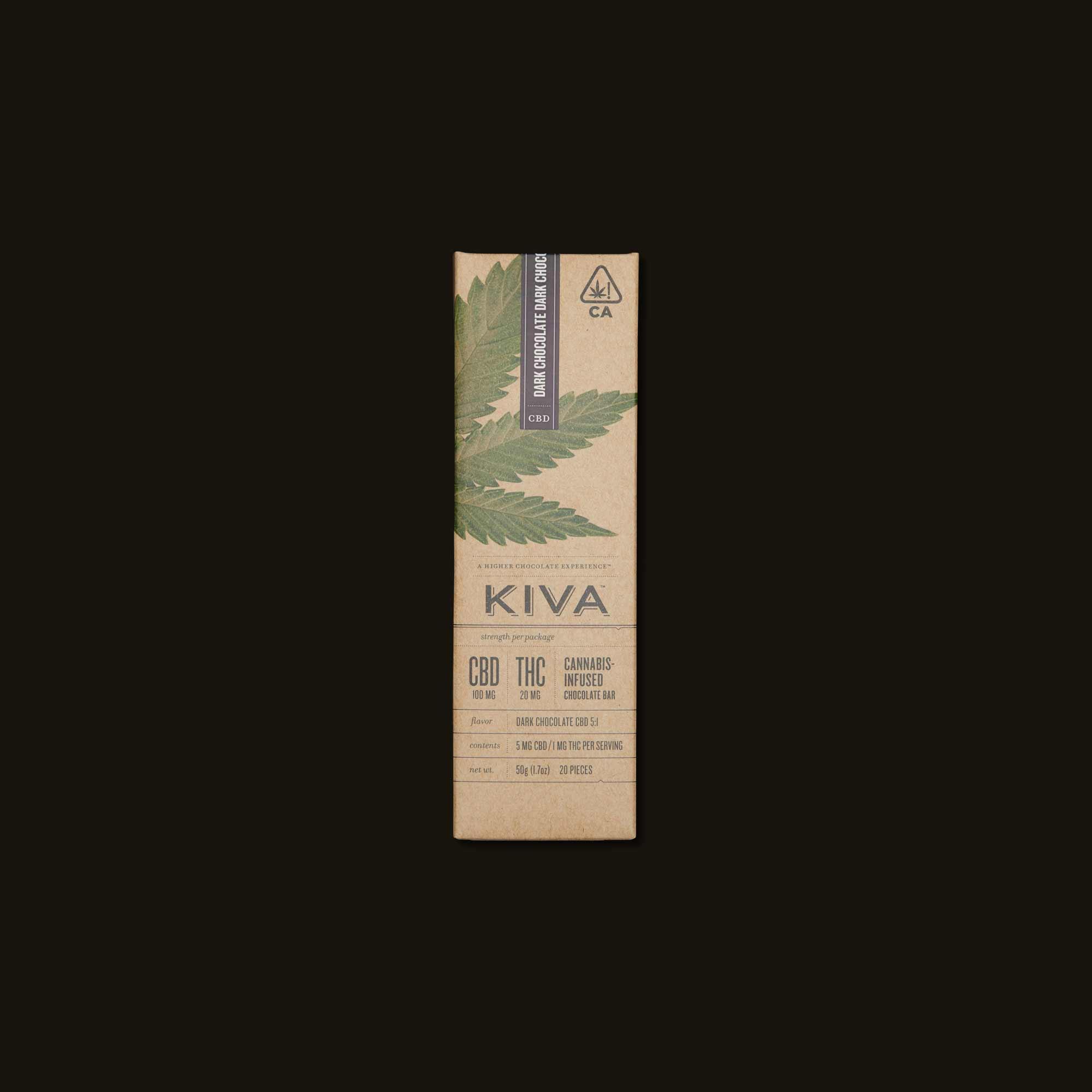 Kiva Dark Chocolate CBD Kiva Bar