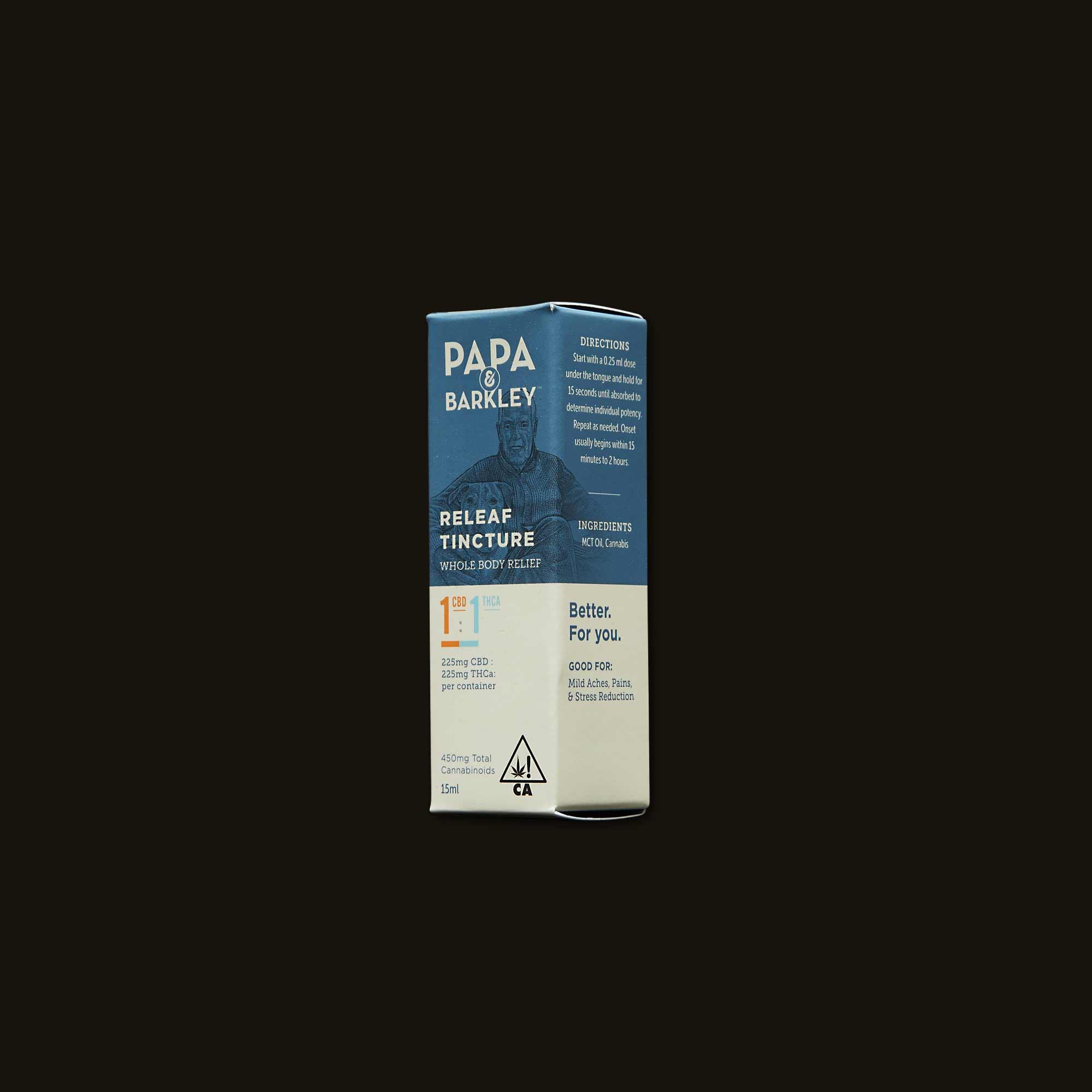 1:1 CBD:THCa Releaf Tincture - One 15ml bottle (225mg THCa, 225mg CBD)