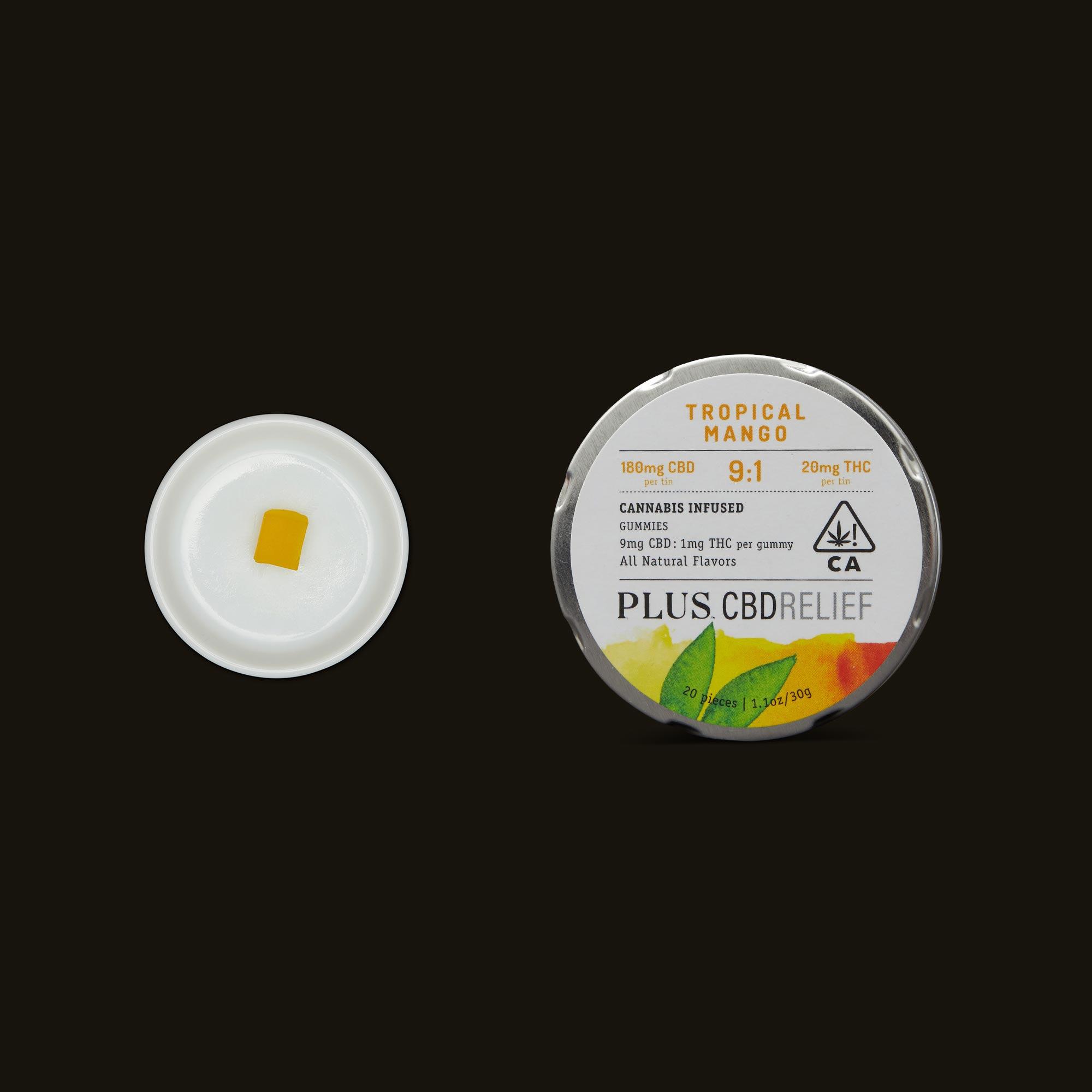Plus CBD Relief 9:1 Tropical Mango Gummies