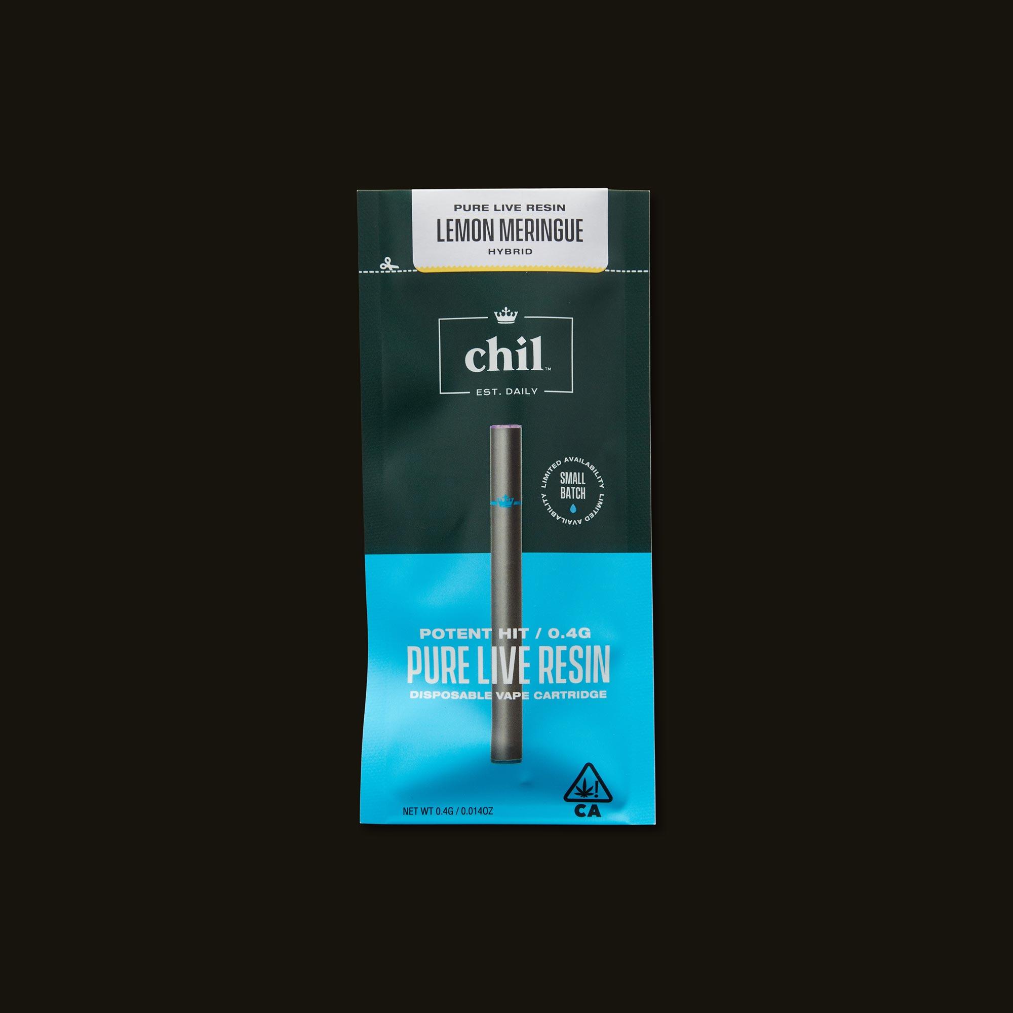 Chil Lemon Meringue Pure Live Resin Disposable Vape Pen Front of Package