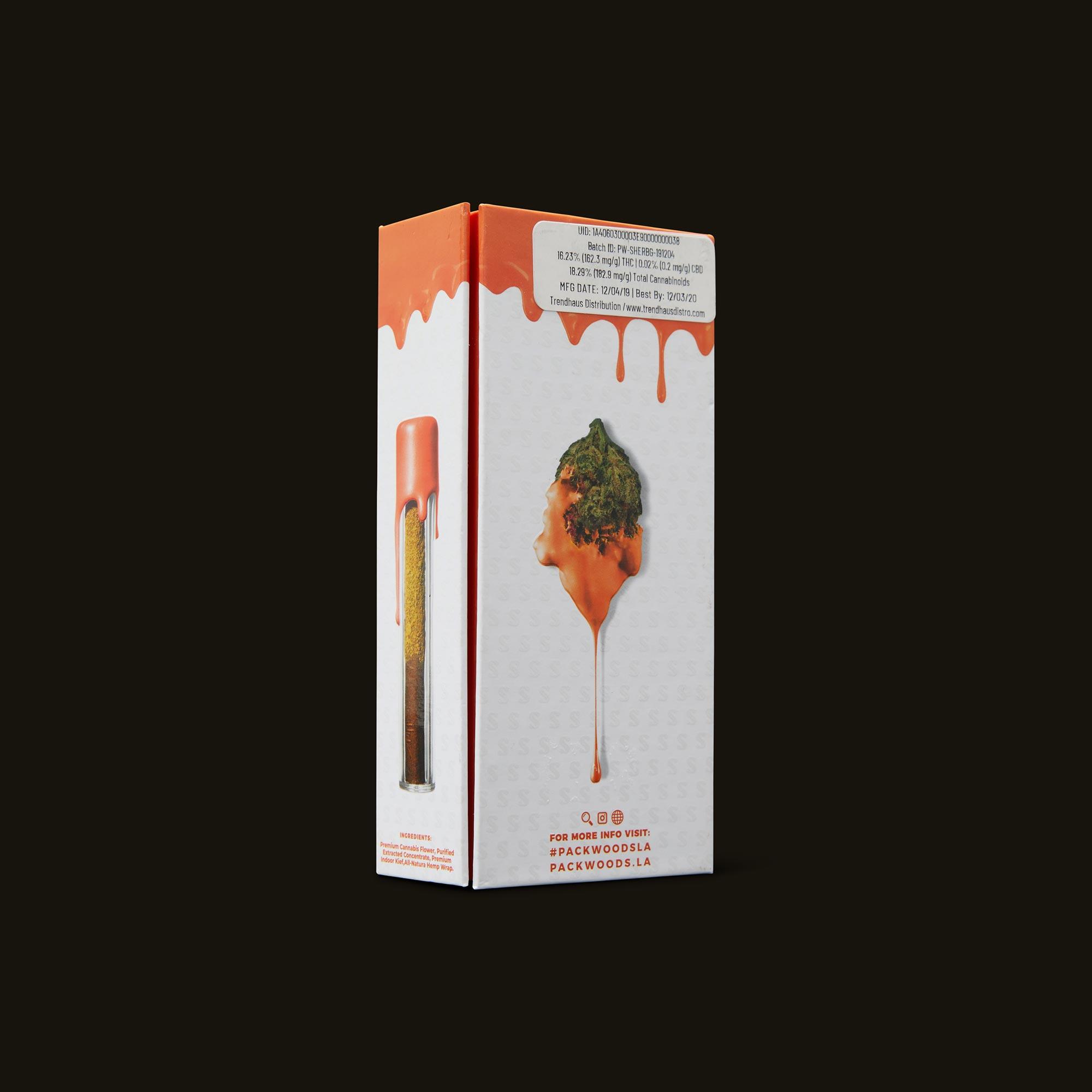 Packwoods Sherbinskis x Packwoods Bacio Gelato Blunt Back Packaging