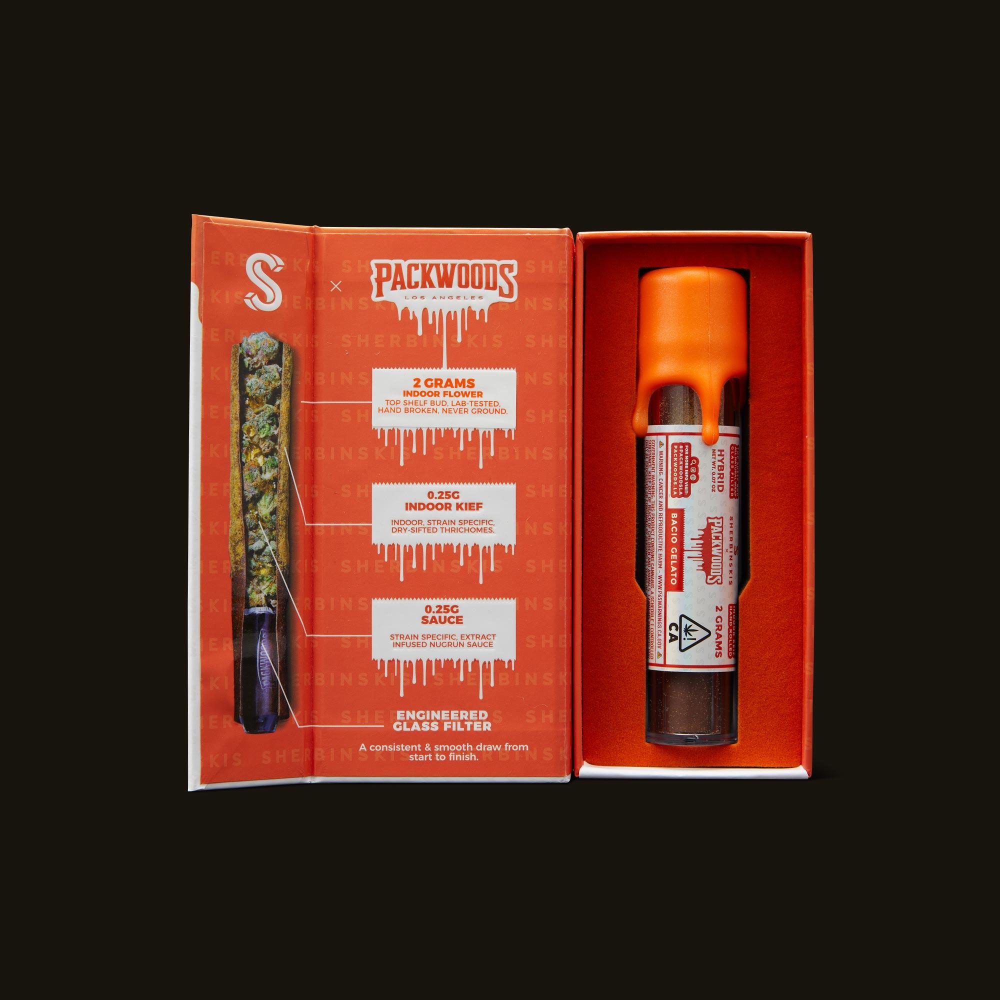 Packwoods Sherbinskis x Packwoods Bacio Gelato Blunt Inner Packaging