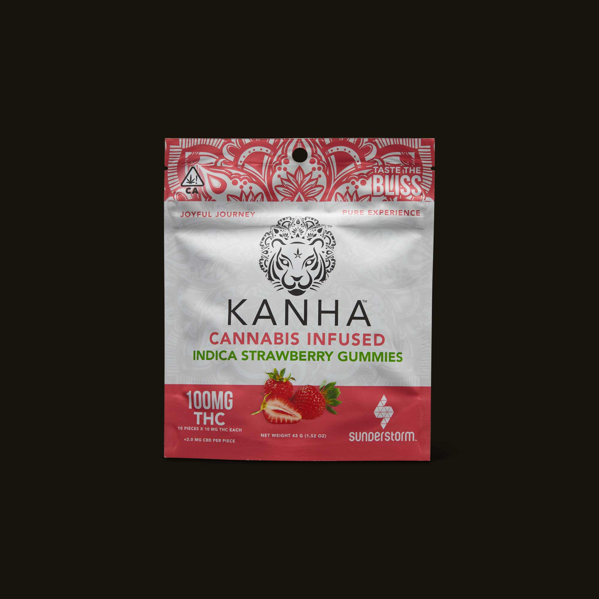 Package of Kanha Indica Strawberry Gummies