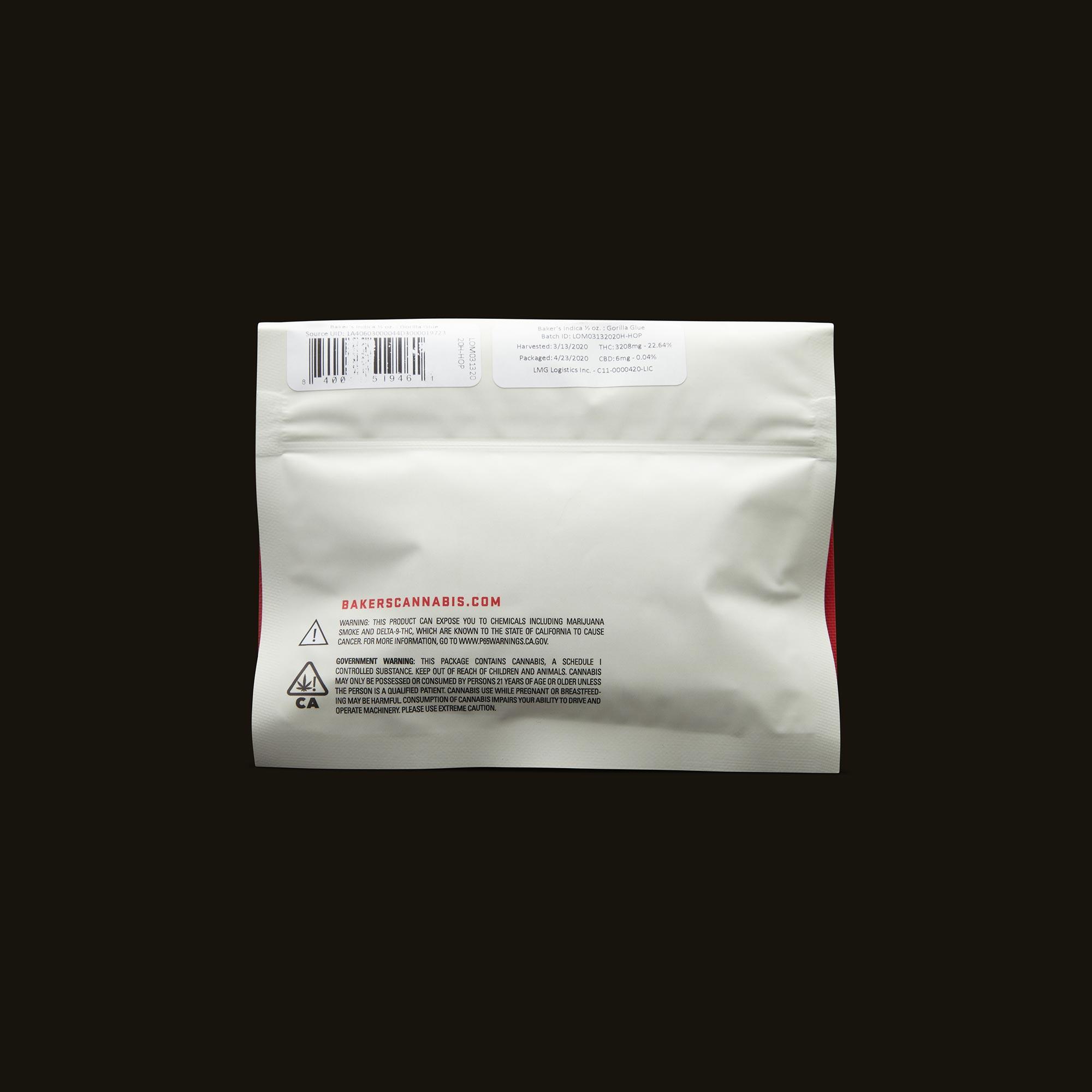 Baker's Gorilla Glue Pre-Ground Half Ounce Back Packaging