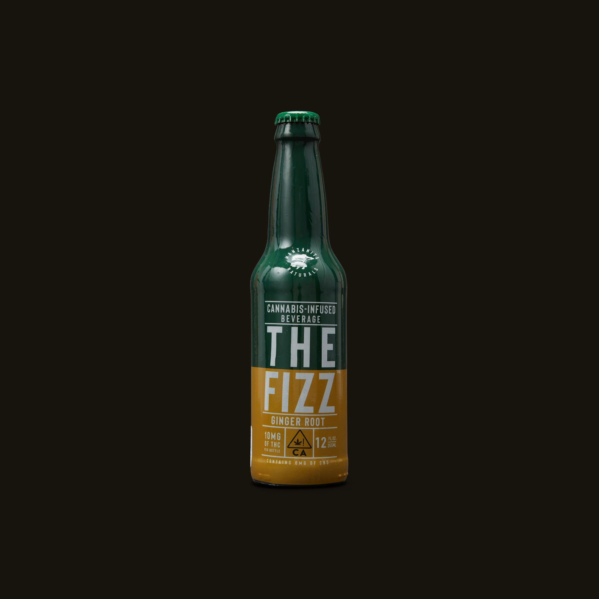 Manzanita Naturals The Fizz Ginger Root Natural Soda Front Bottle