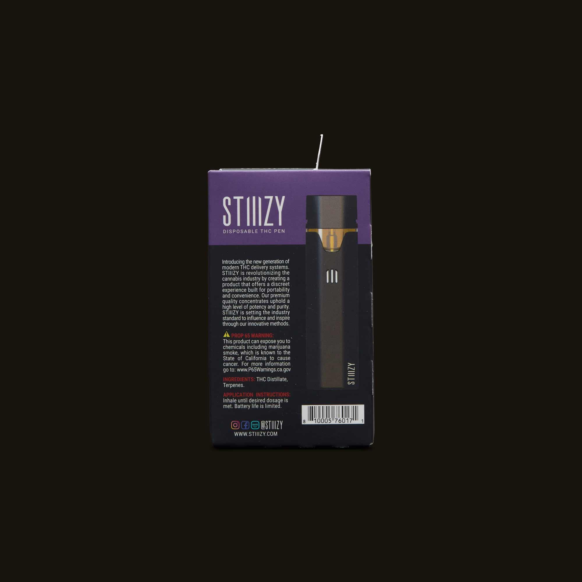 Back of package info for Stiiizy OG Kush Liiil