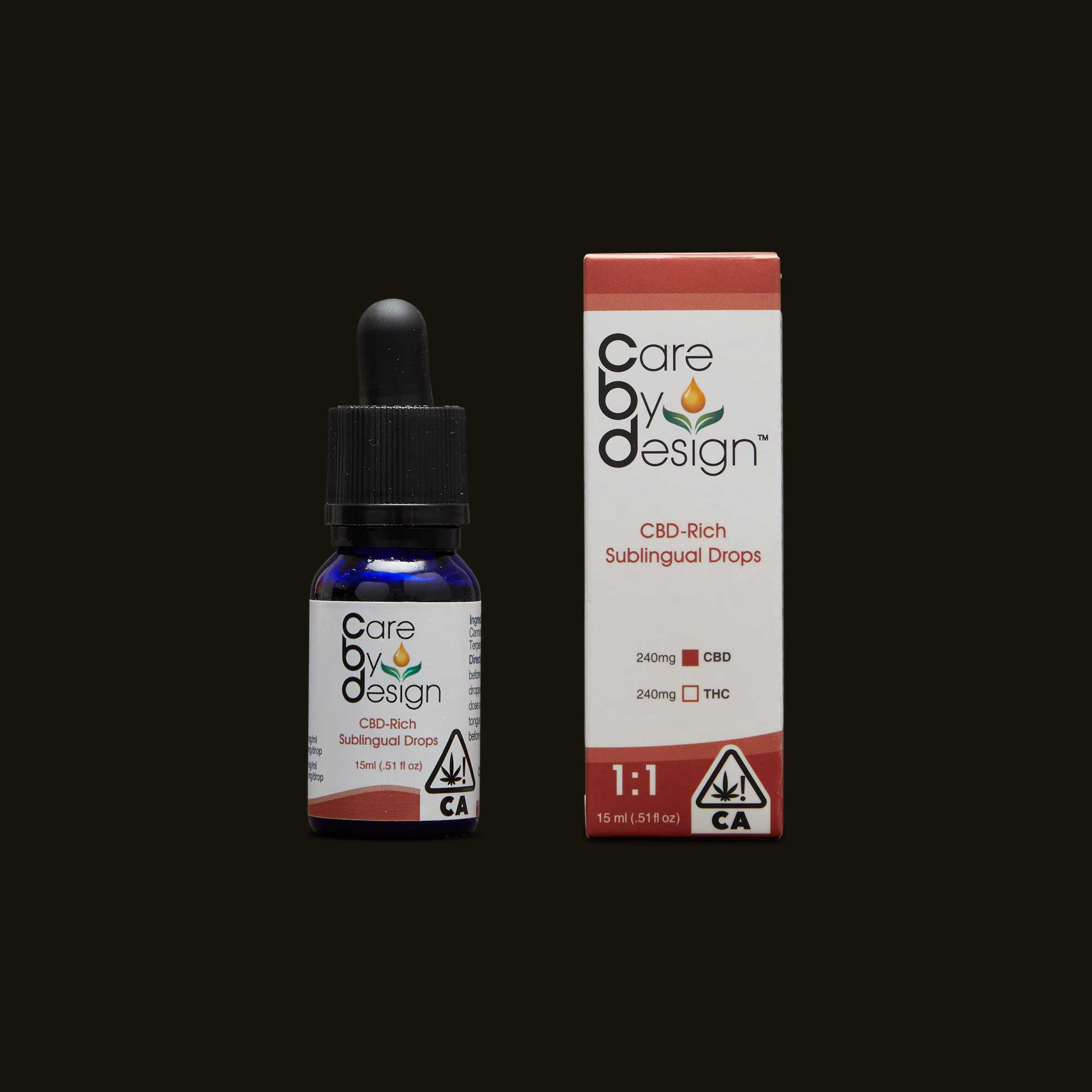 Care by Design bottle of drops with package