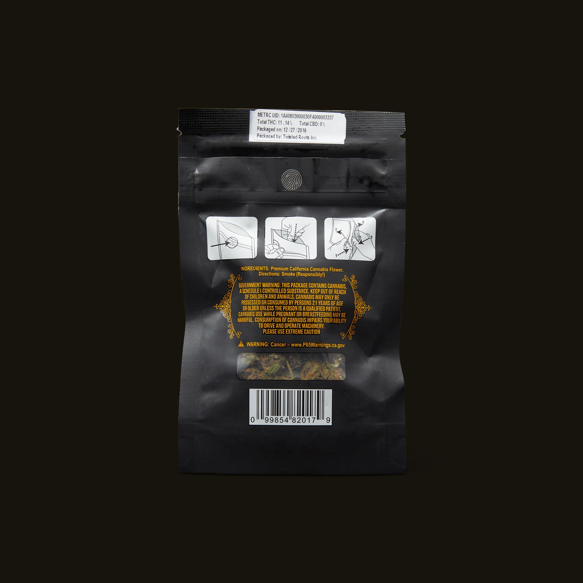 Pacific Stone Forbidden Fruit Indica Back Packaging