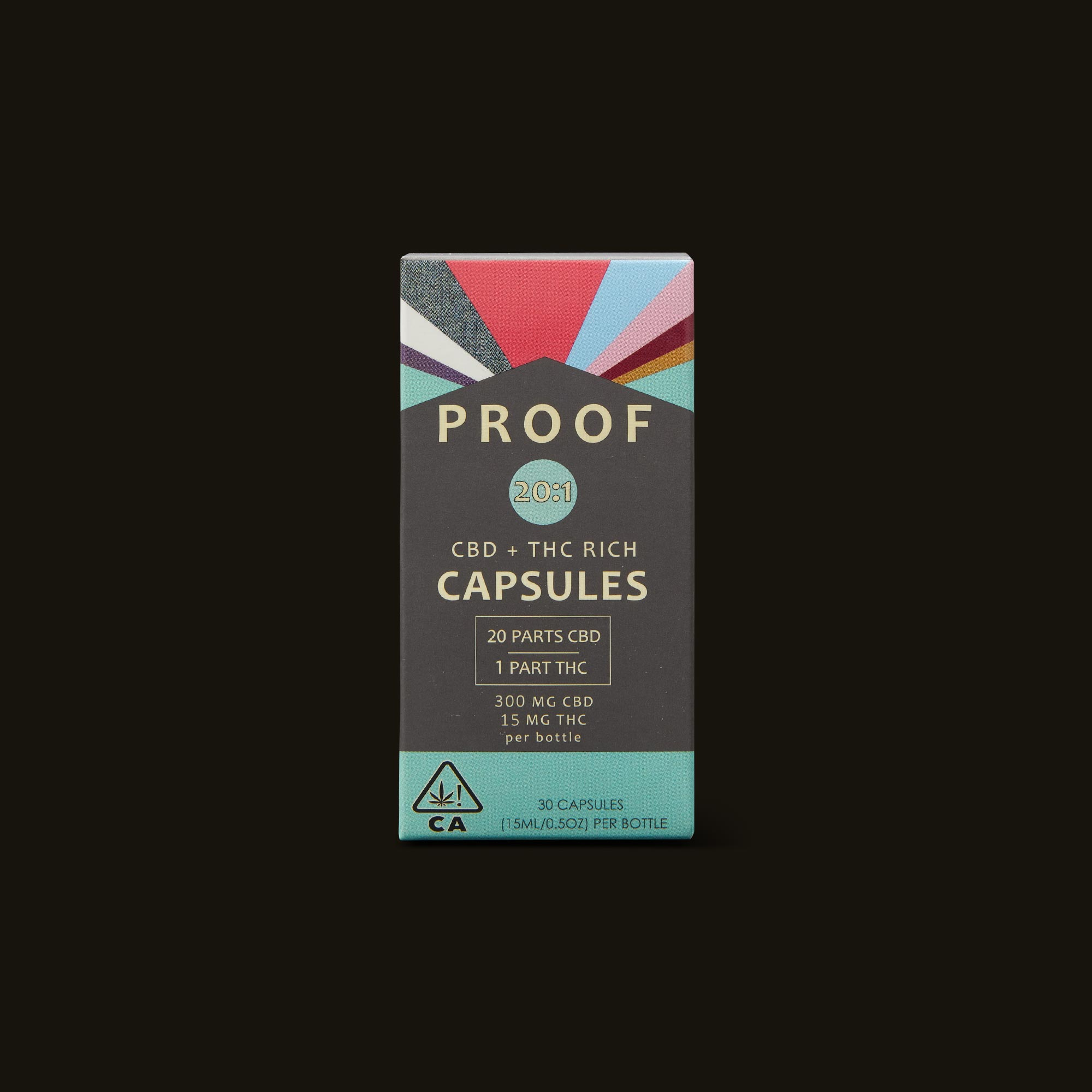 Proof 20:1 CBD:THC Capsules Front Packaging
