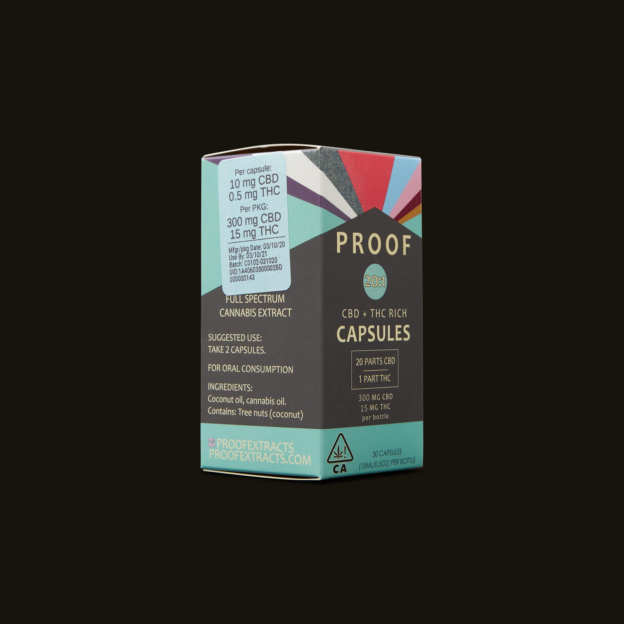 Proof 20:1 CBD:THC Capsules Ingredients