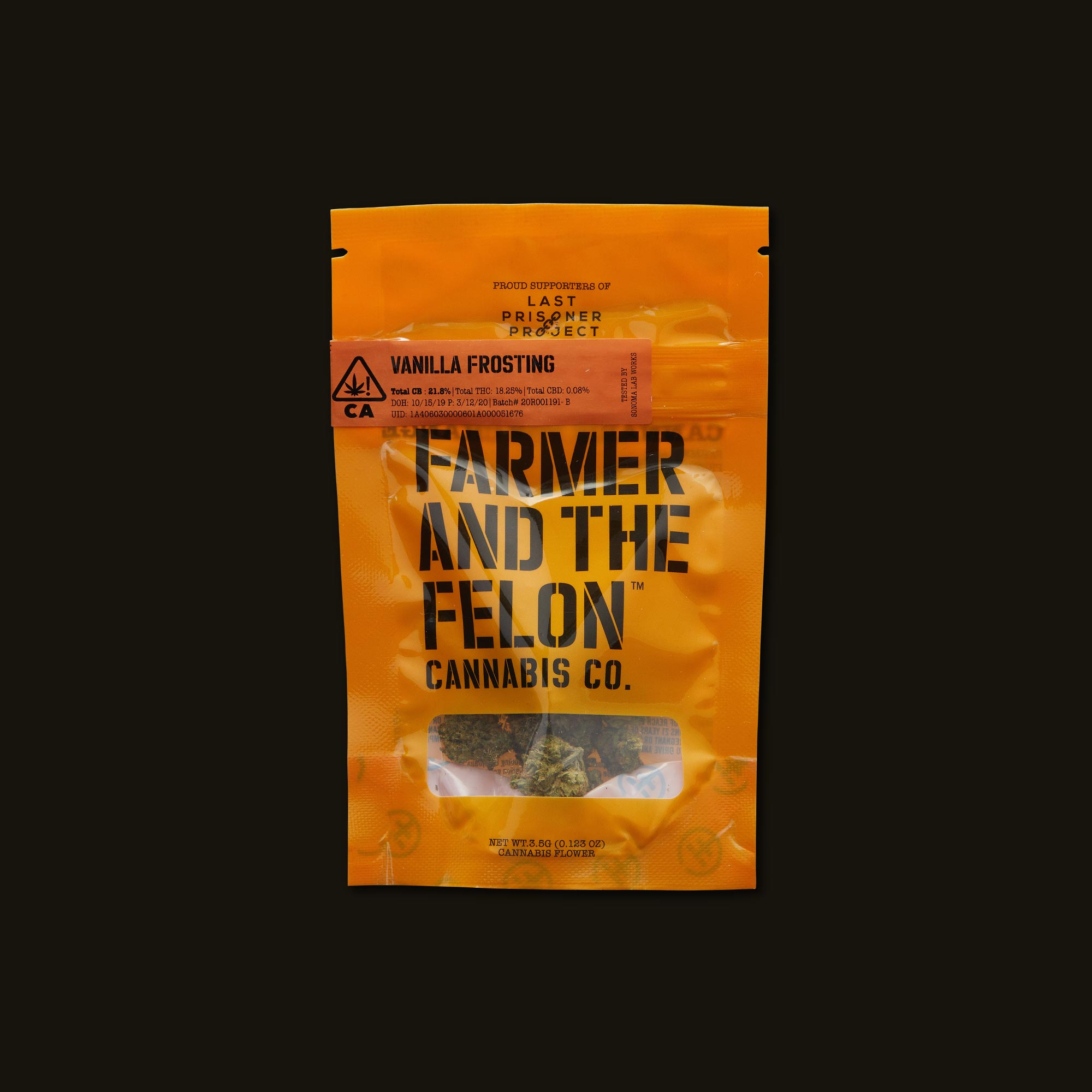 Farmer and the Felon Vanilla Frosting Front of Packaging