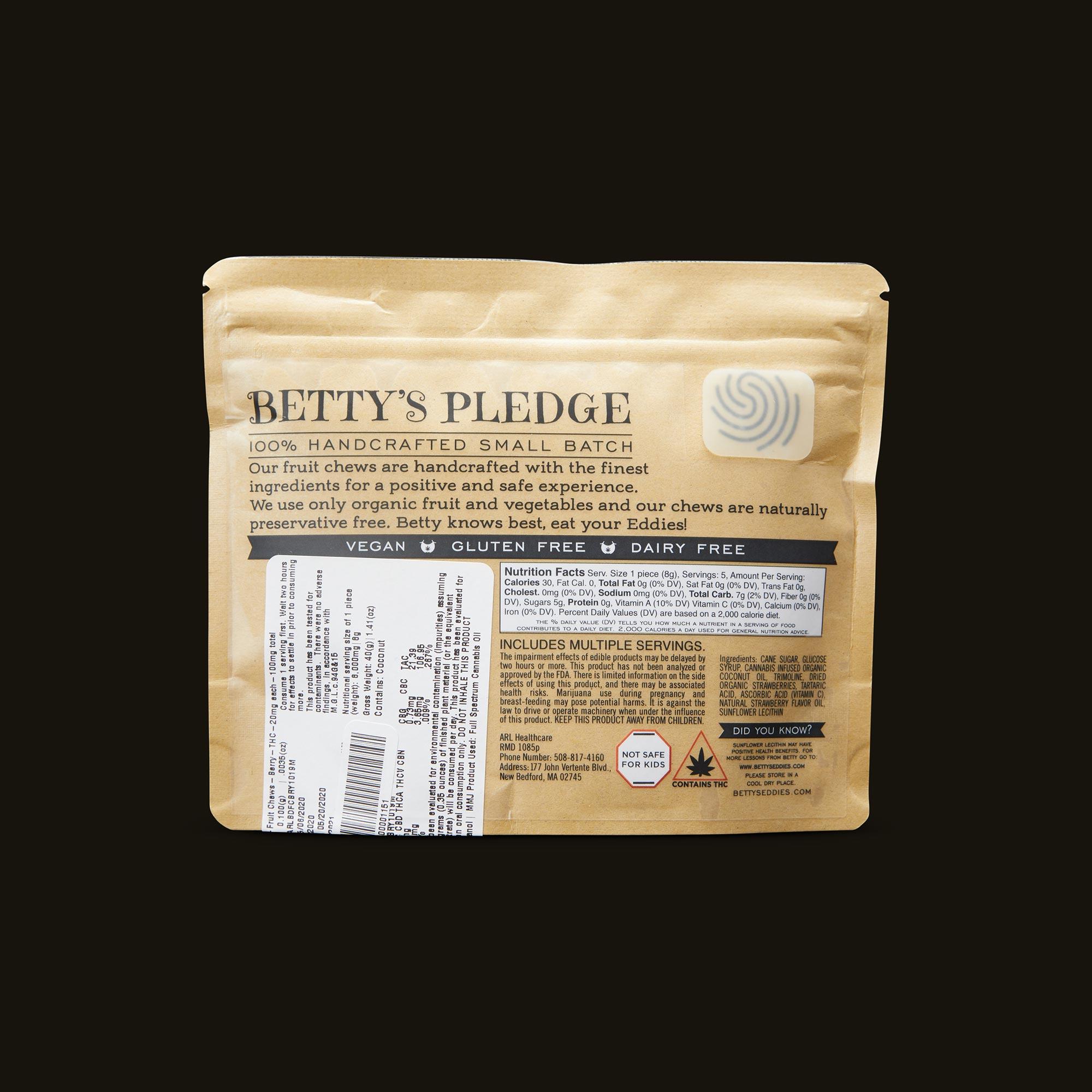 Betty's Eddies Berry Good Things Fruit Chews Ingredients