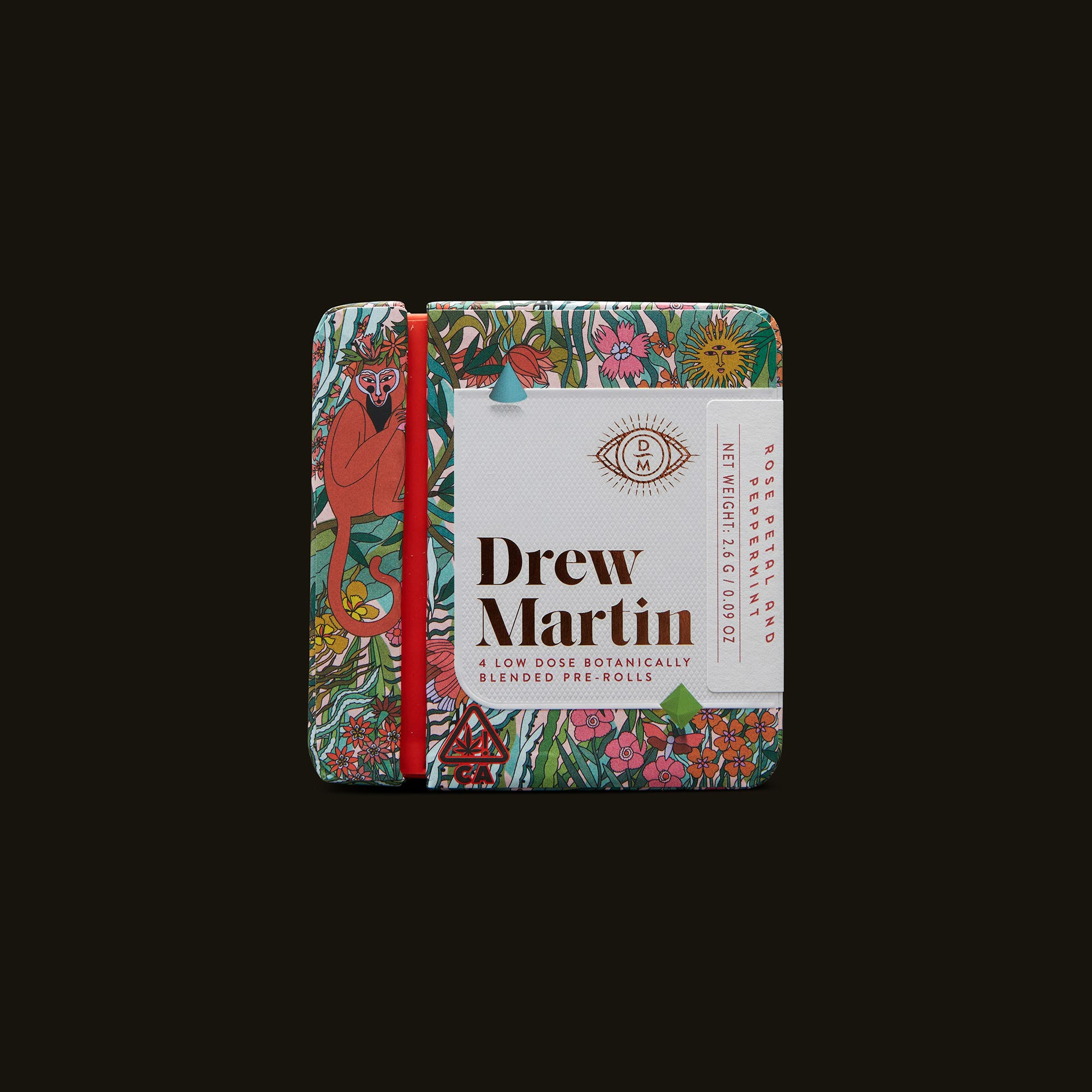 Drew Martin Rose Petal and Peppermint Pre-Rolls Front Packaging