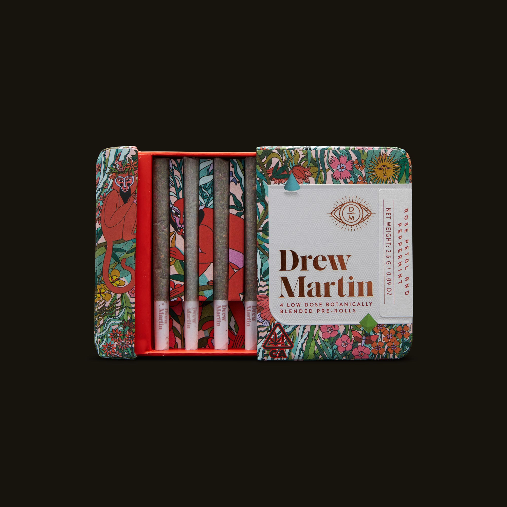 Drew Martin Rose Petal and Peppermint Pre-Rolls Open Packaging