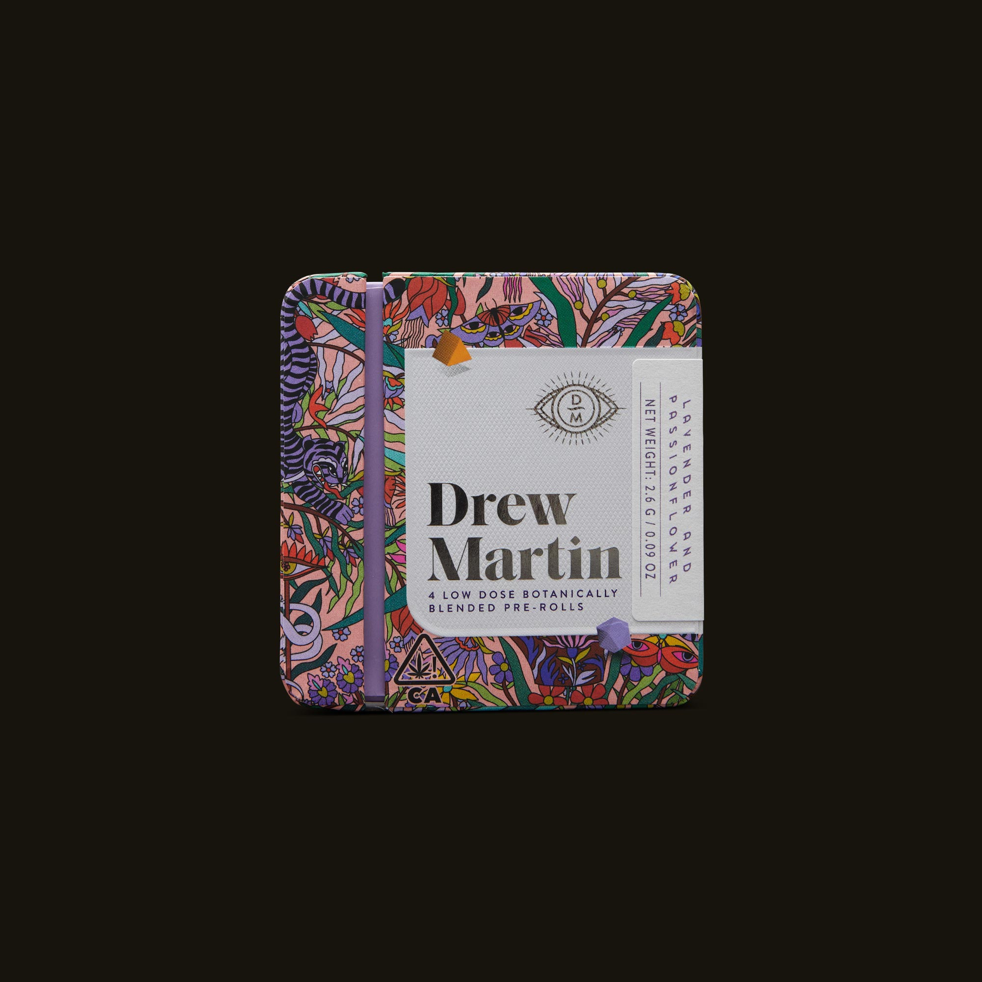 Drew Martin Lavender and Passionflower Pre-Rolls Front Packaging
