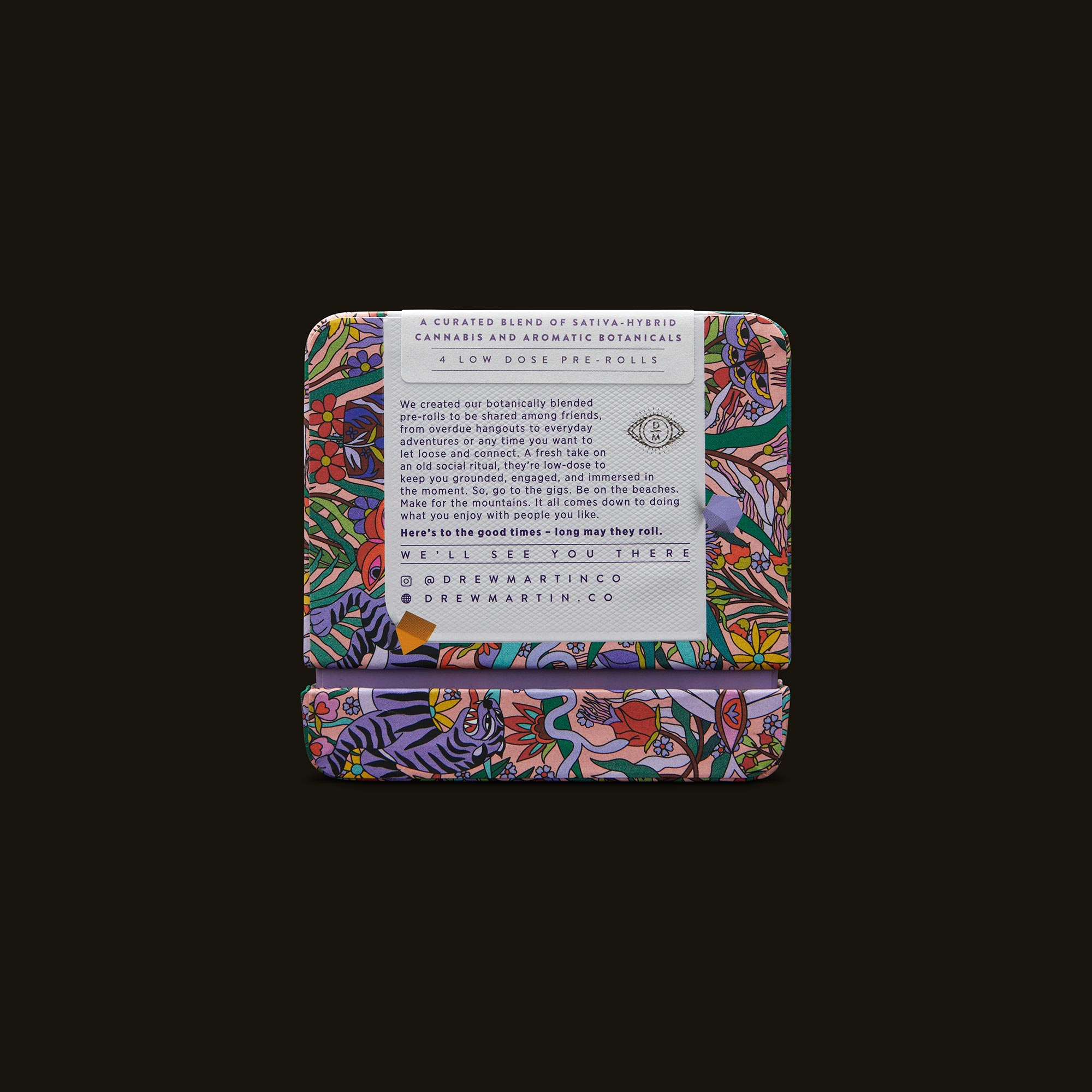 Drew Martin Lavender and Passionflower Pre-Rolls Back Packaging