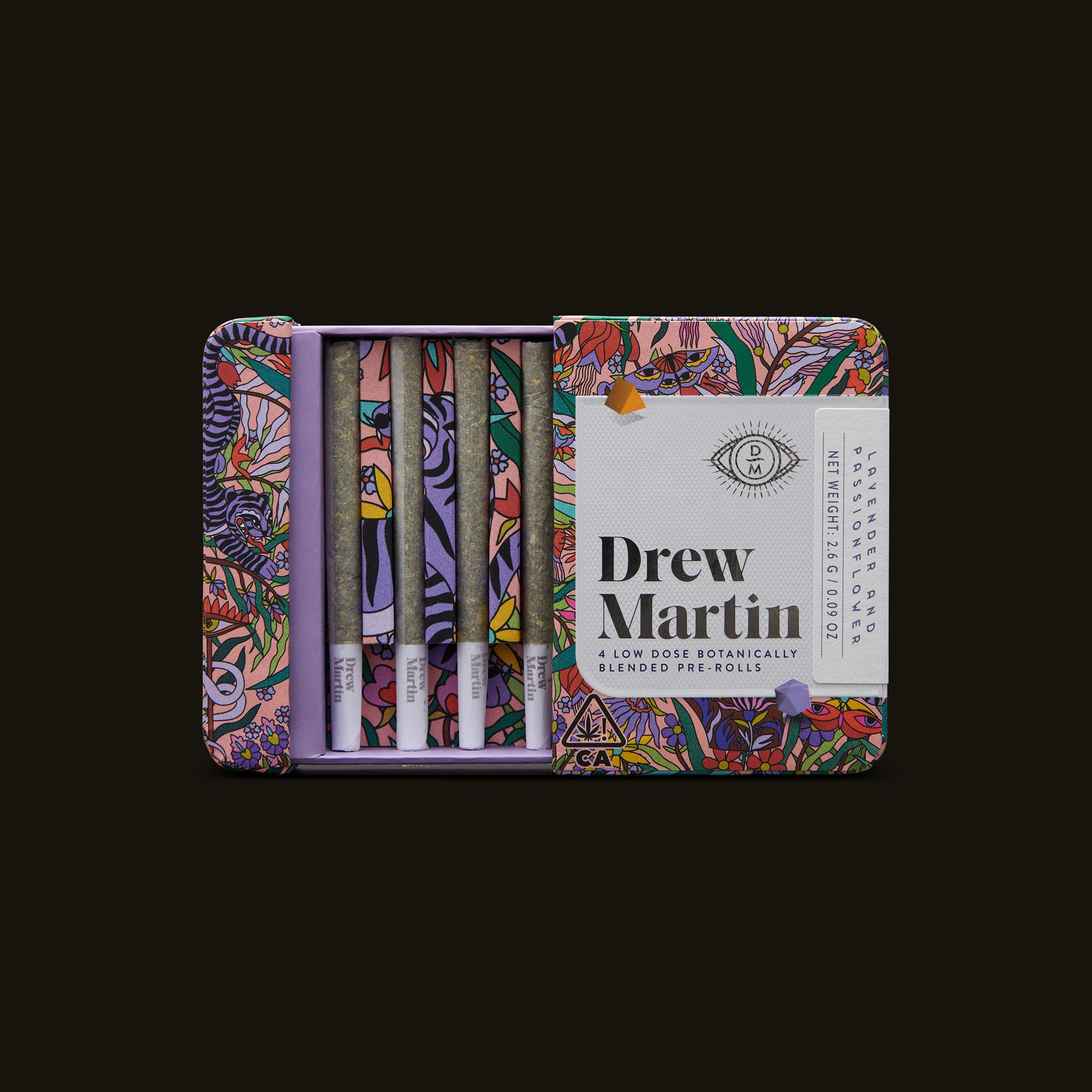 Drew Martin Lavender and Passionflower Pre-Rolls Open Packaging