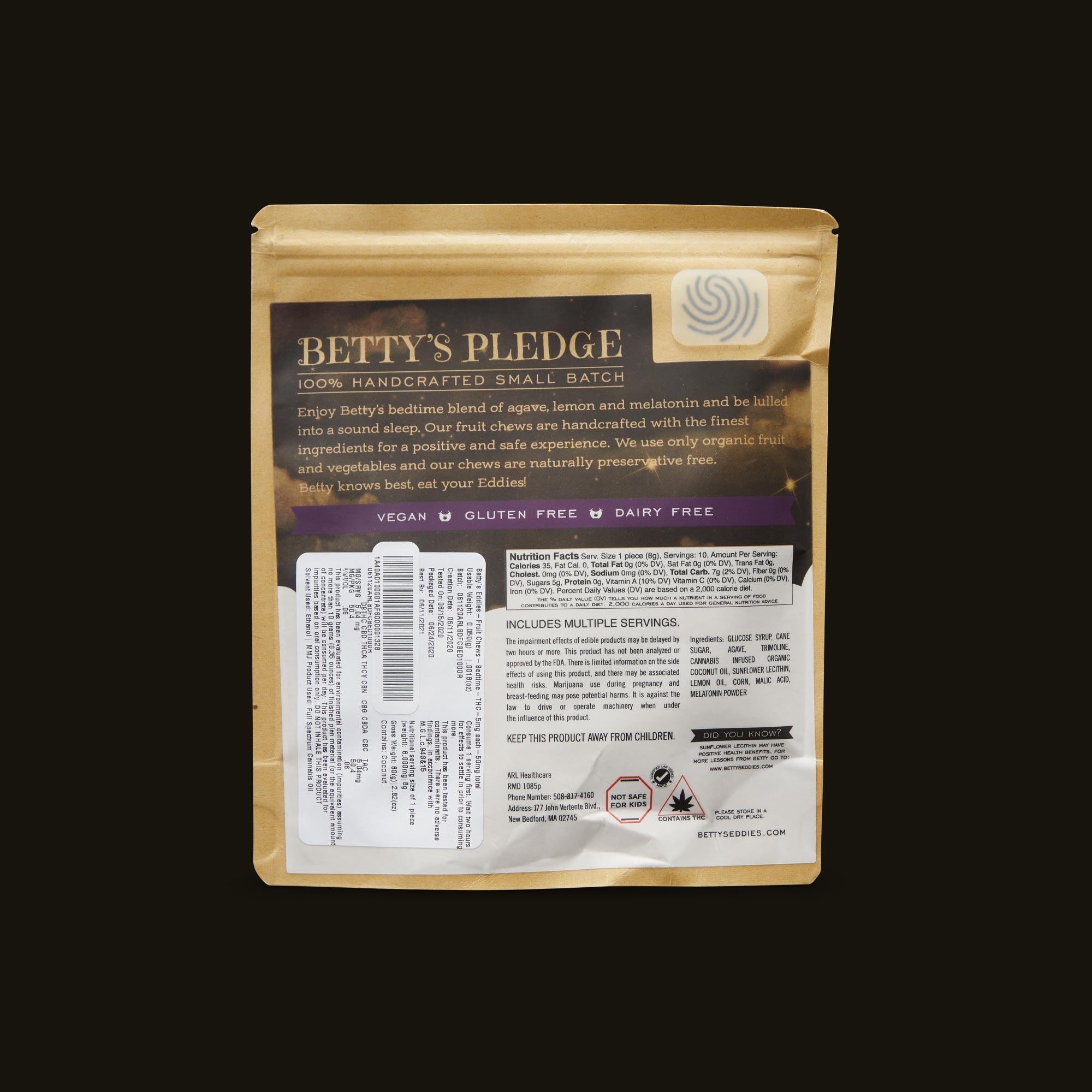 Betty's Eddies Bedtime Betty's - 80g Ingredients