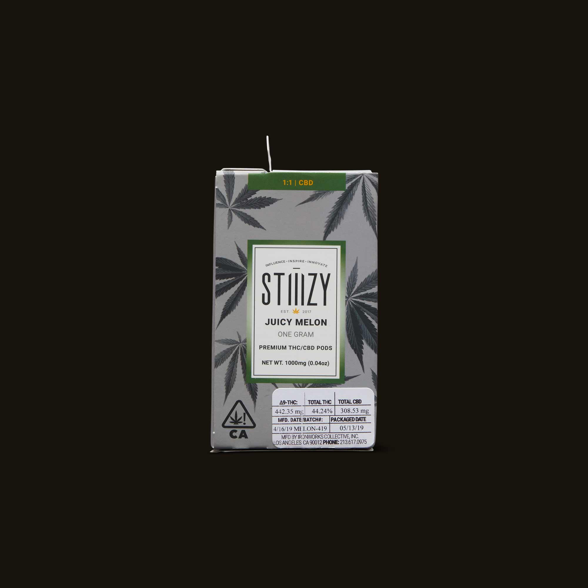 Stiizy Juicy Melon Pod Package stating One Gram, THC/CBD 1:1 ratio