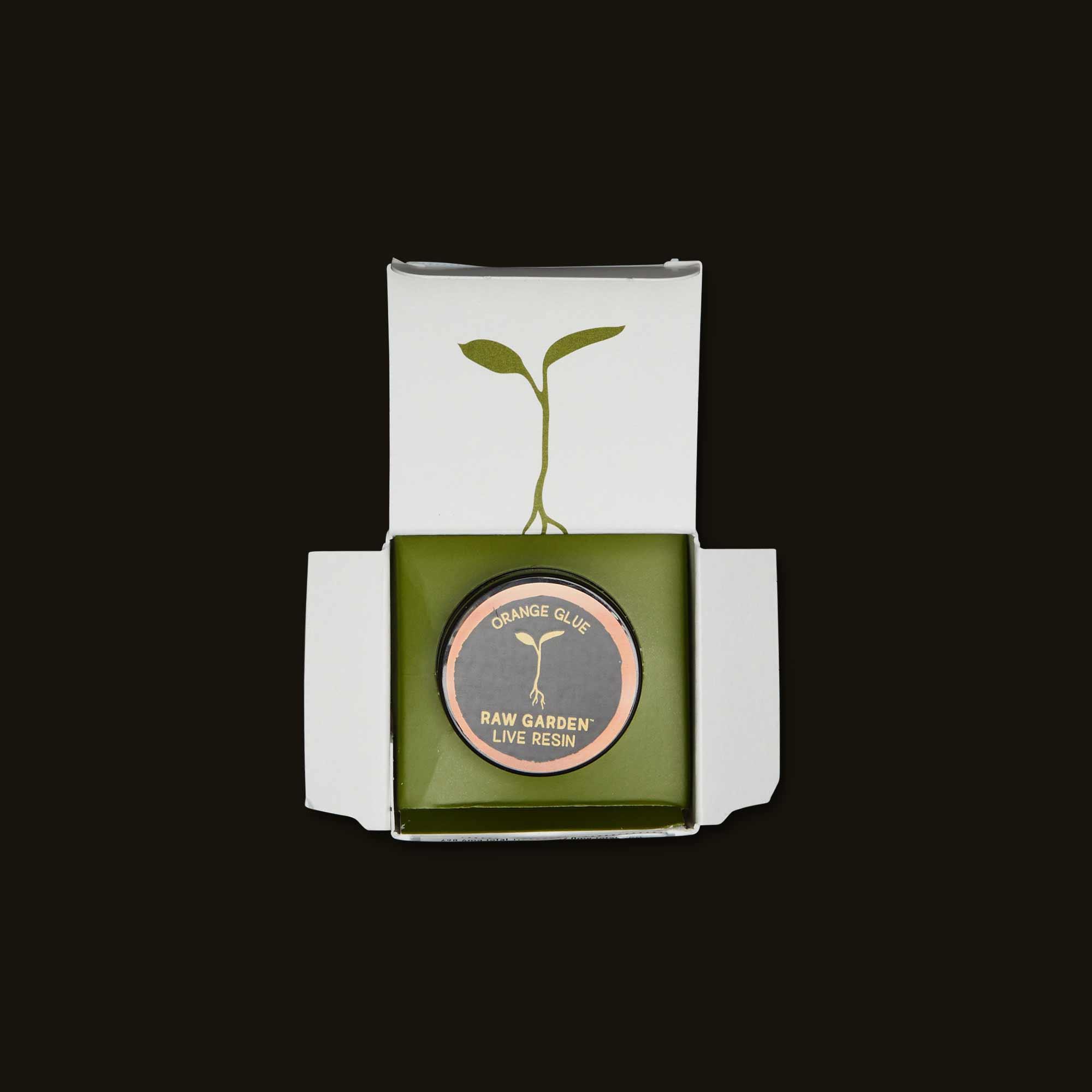 Open Box of Raw Garden Orange Glue Live Resin