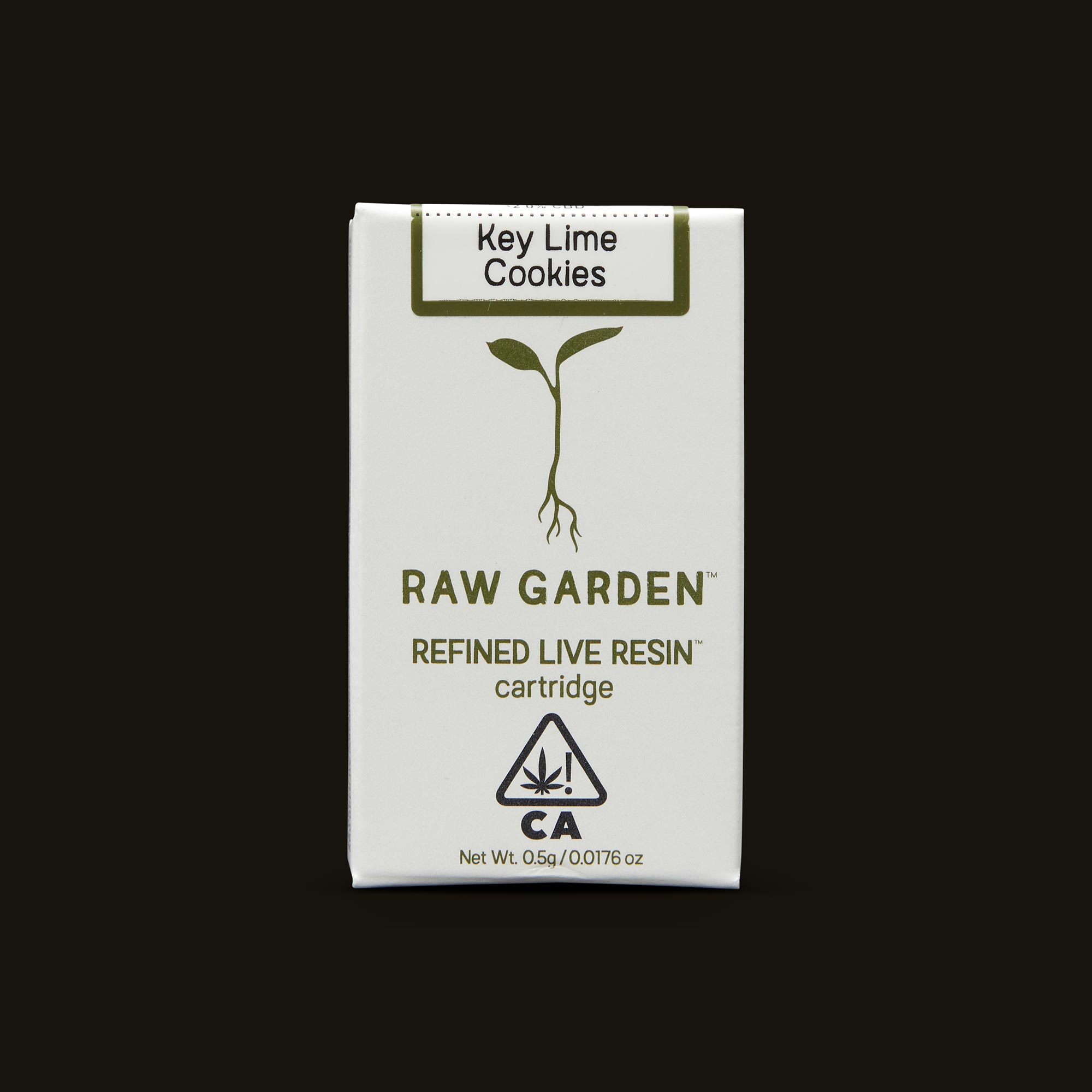 Raw Garden Key Lime Cookies Live Resin Cartridge Front Packaging