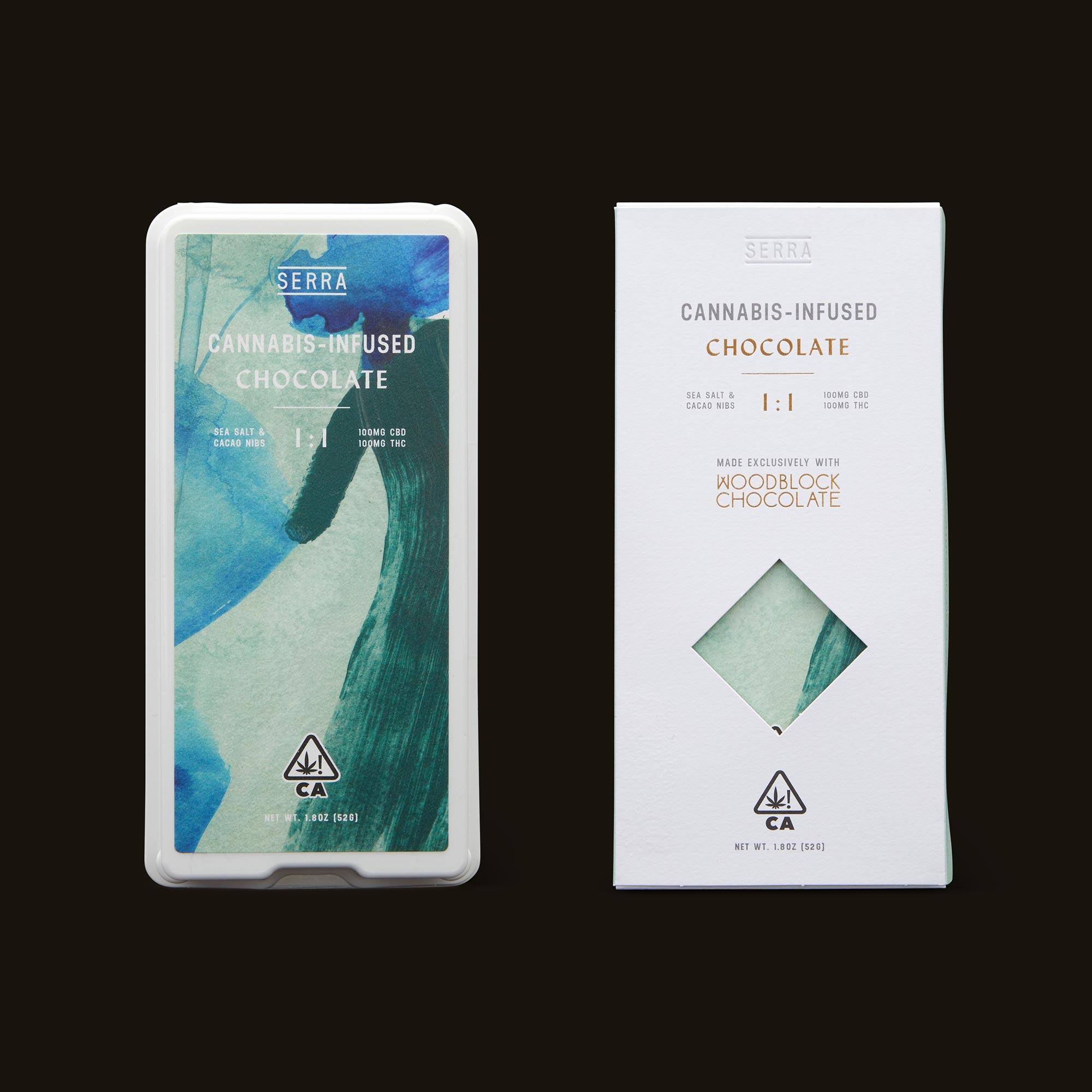 Serra Creativity 1:1 Salted Cacao Nib Chocolate Open Packaging