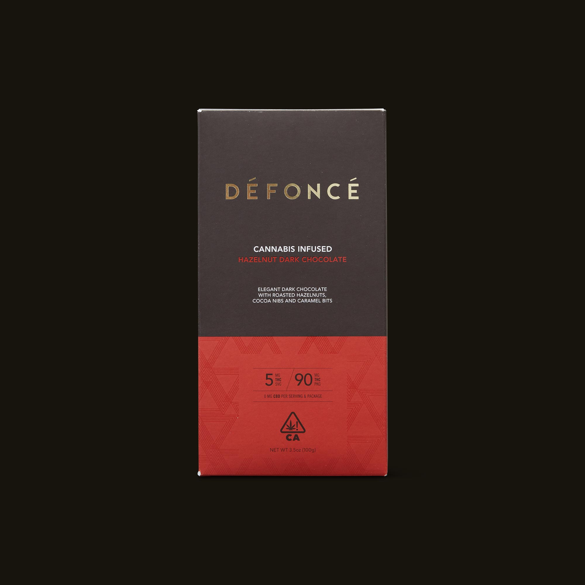 Défoncé Hazelnut Dark Chocolate Bar Front Packaging