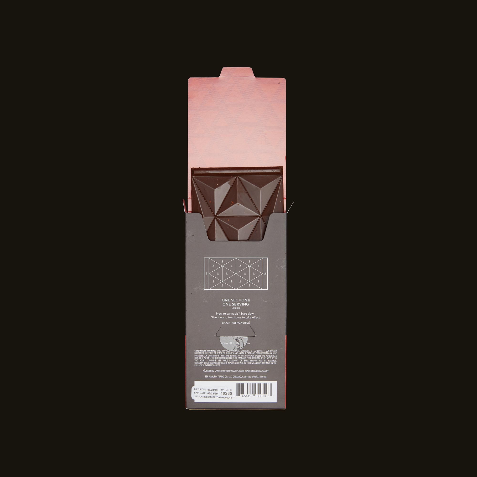 Défoncé Hazelnut Dark Chocolate Bar Open Packaging
