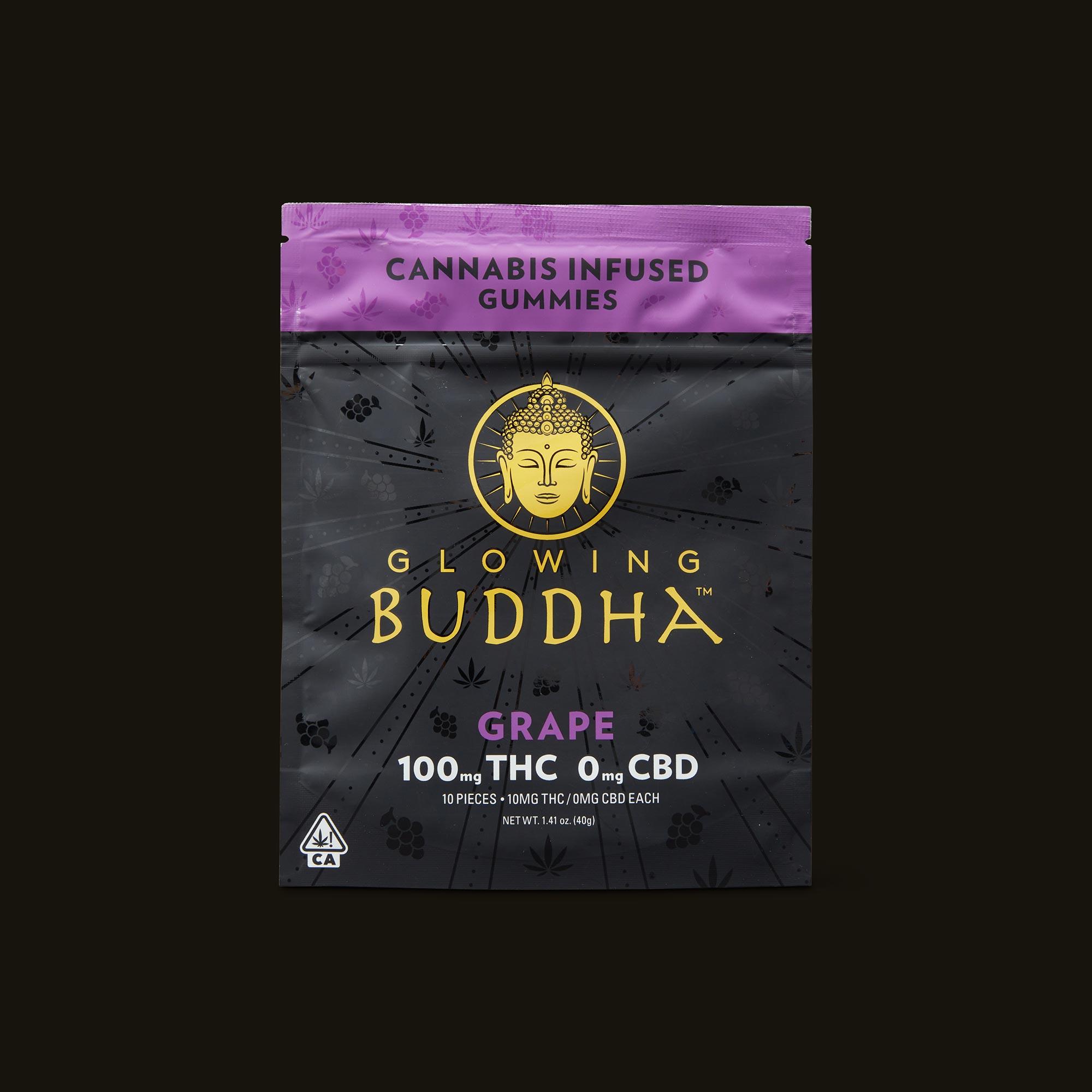 Glowing Buddha Grape Gummies Front Packaging
