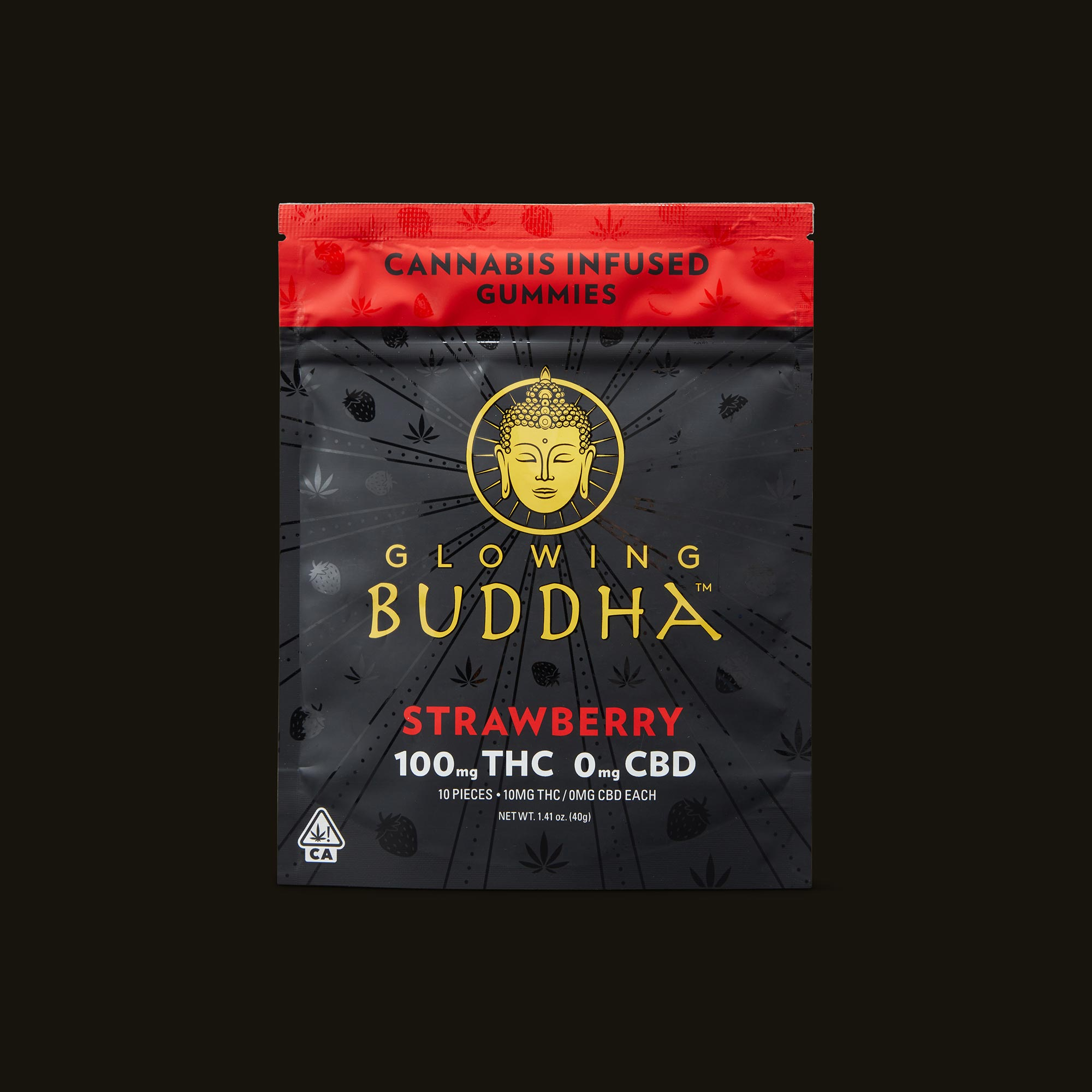 Glowing Buddha Strawberry Gummies Front Packaging