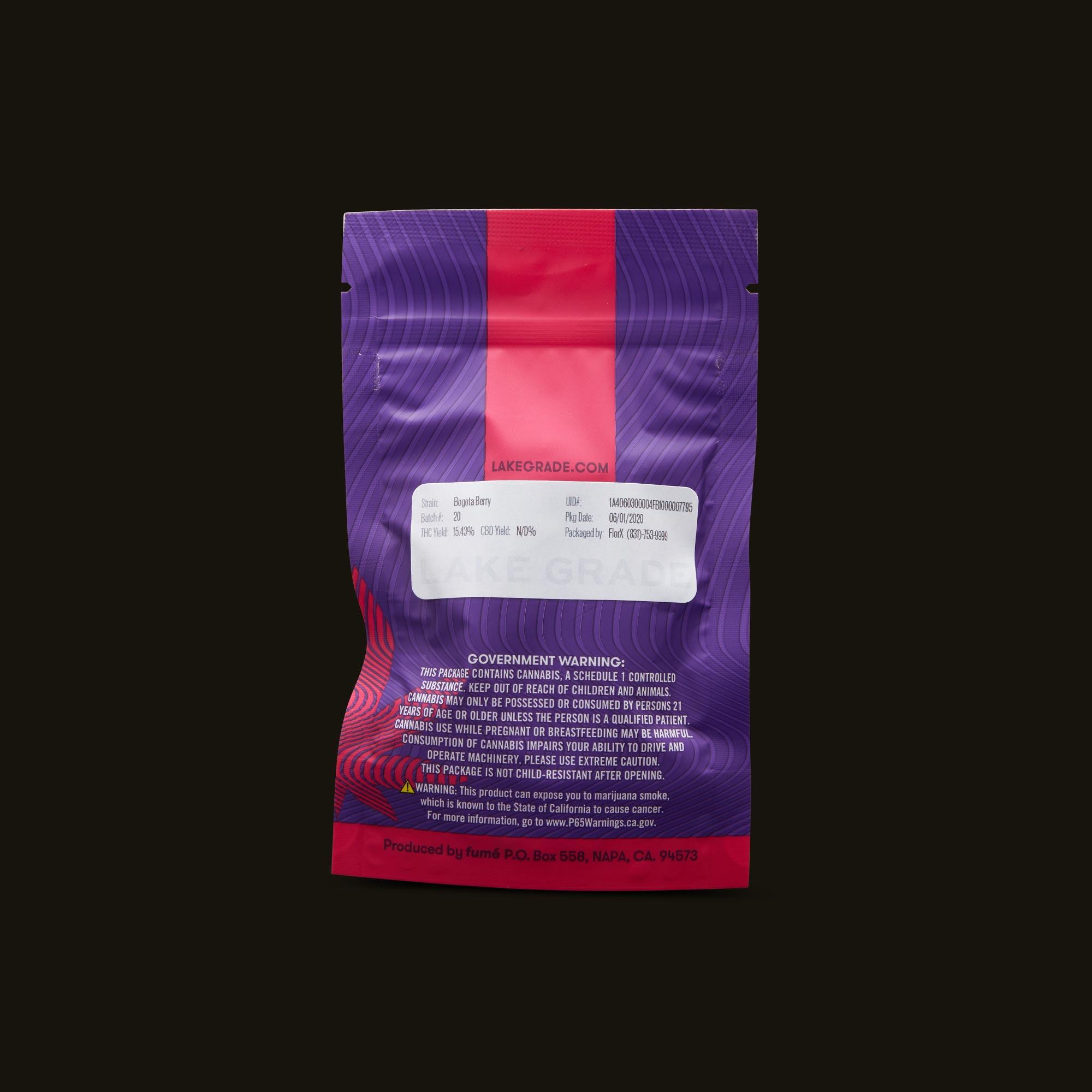 Lakegrade Bogota Berry Back Packaging