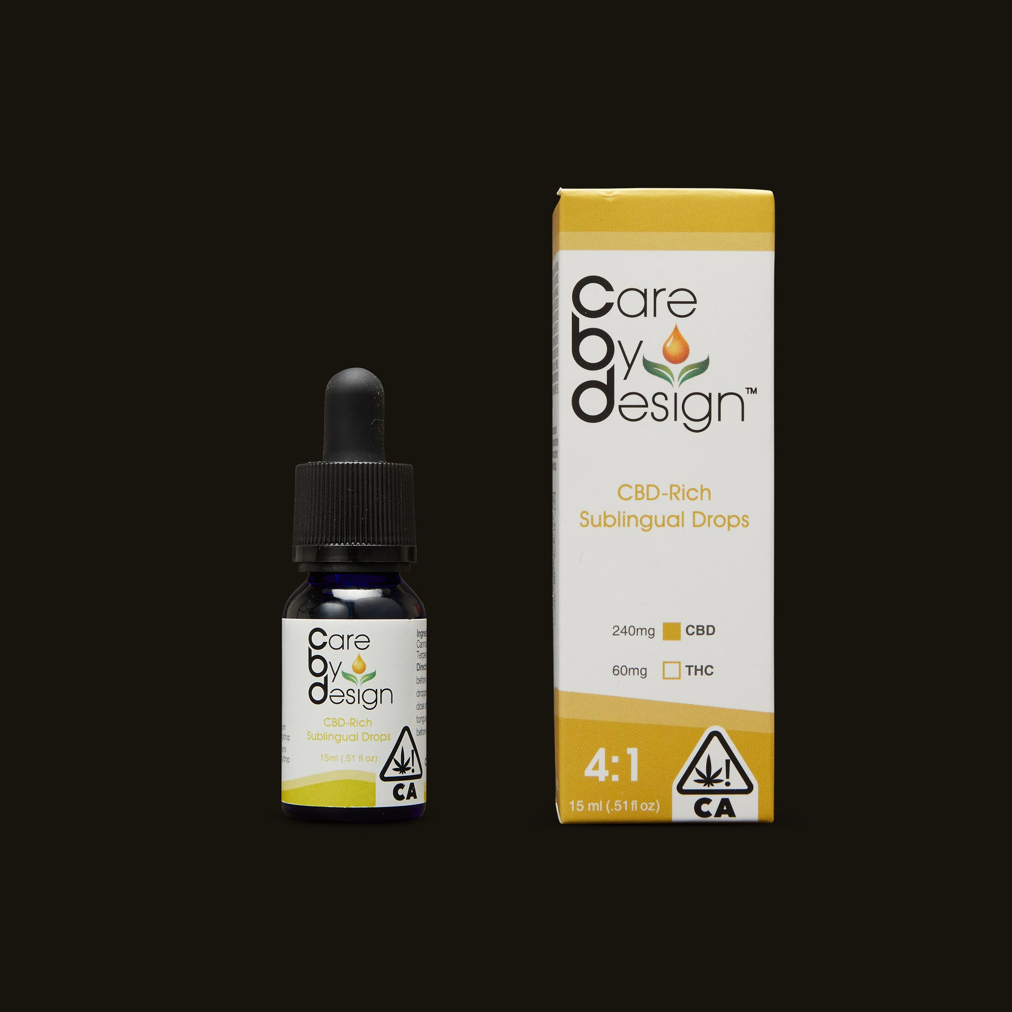 Care By Design 4:1 Sublingual Drops Tincture and Packaging