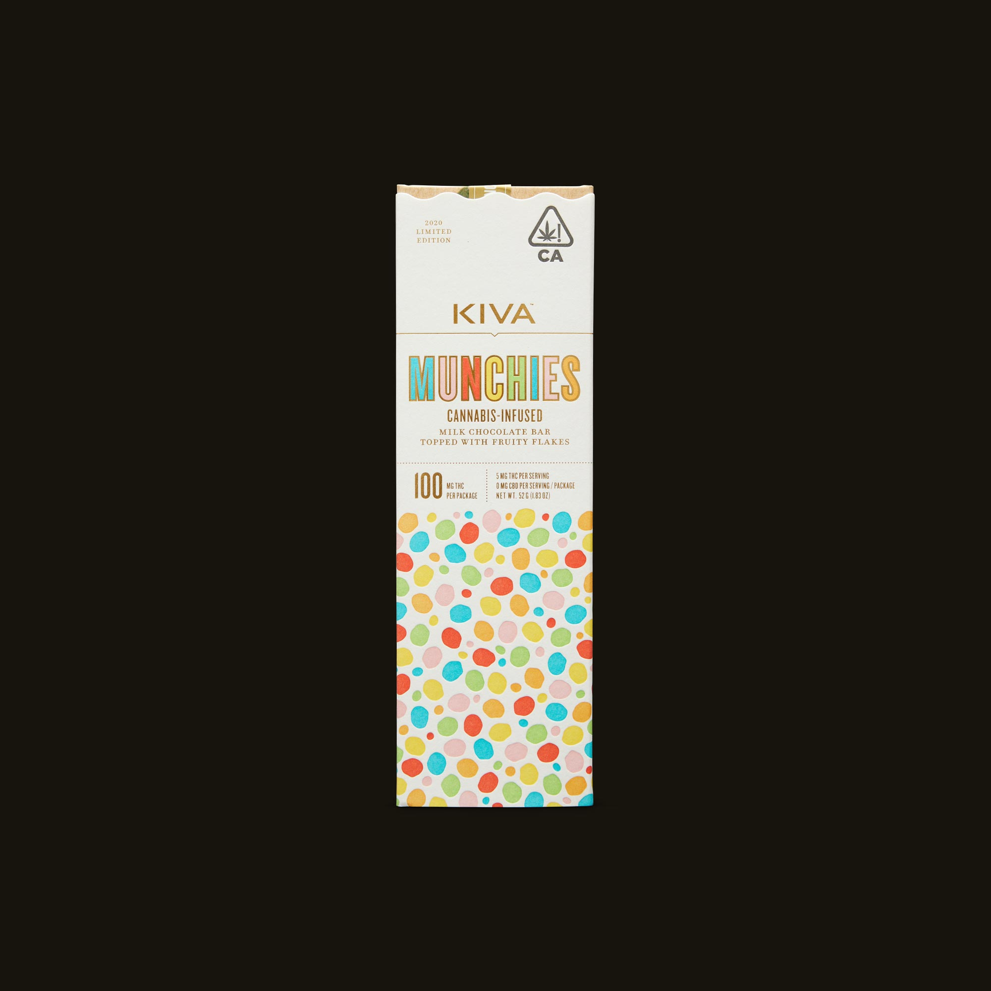 Kiva Confections Milk Chocolate Fruity Flakes Munchies Bar Front Packaging