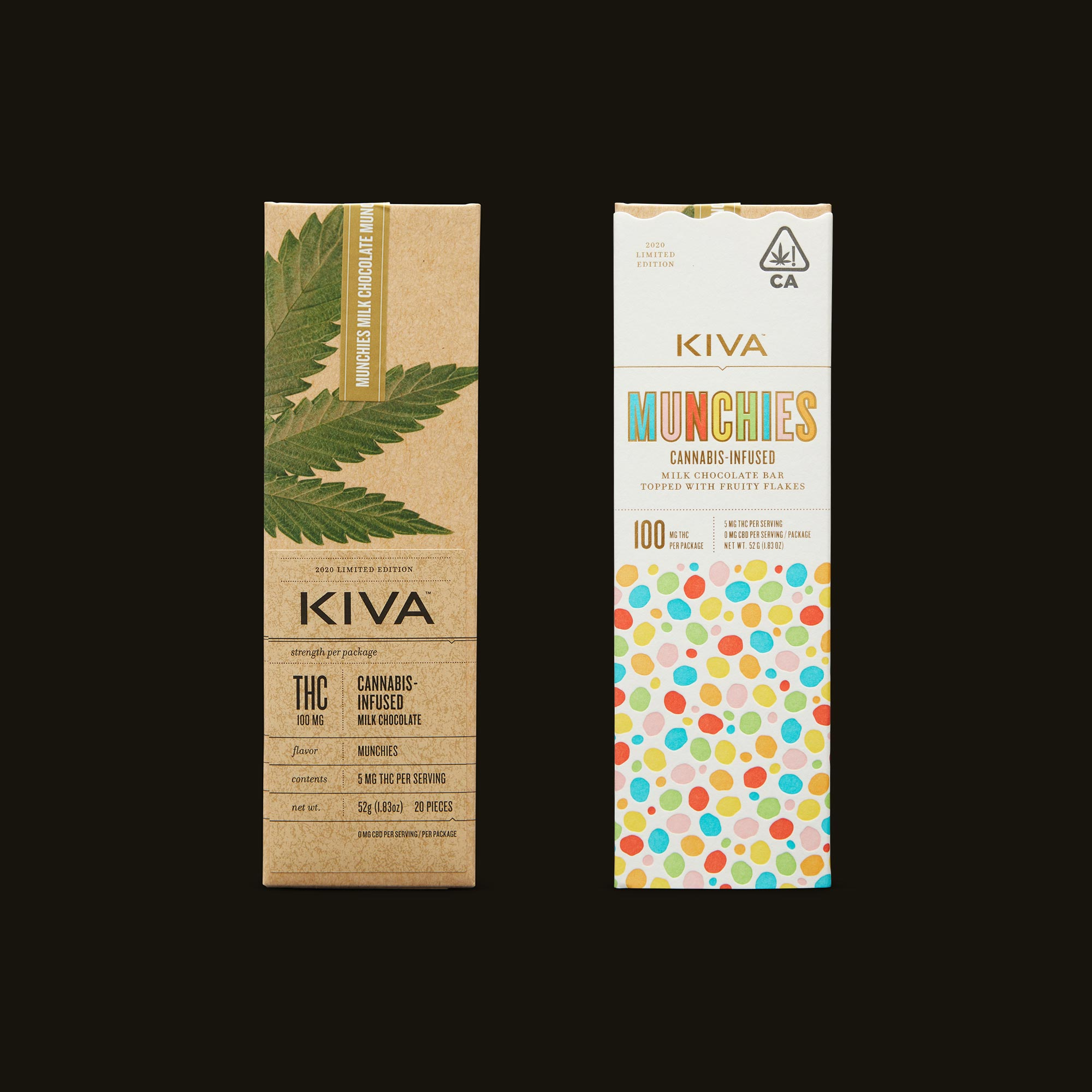Kiva Confections Milk Chocolate Fruity Flakes Munchies Bar Inner Packaging and Packaging